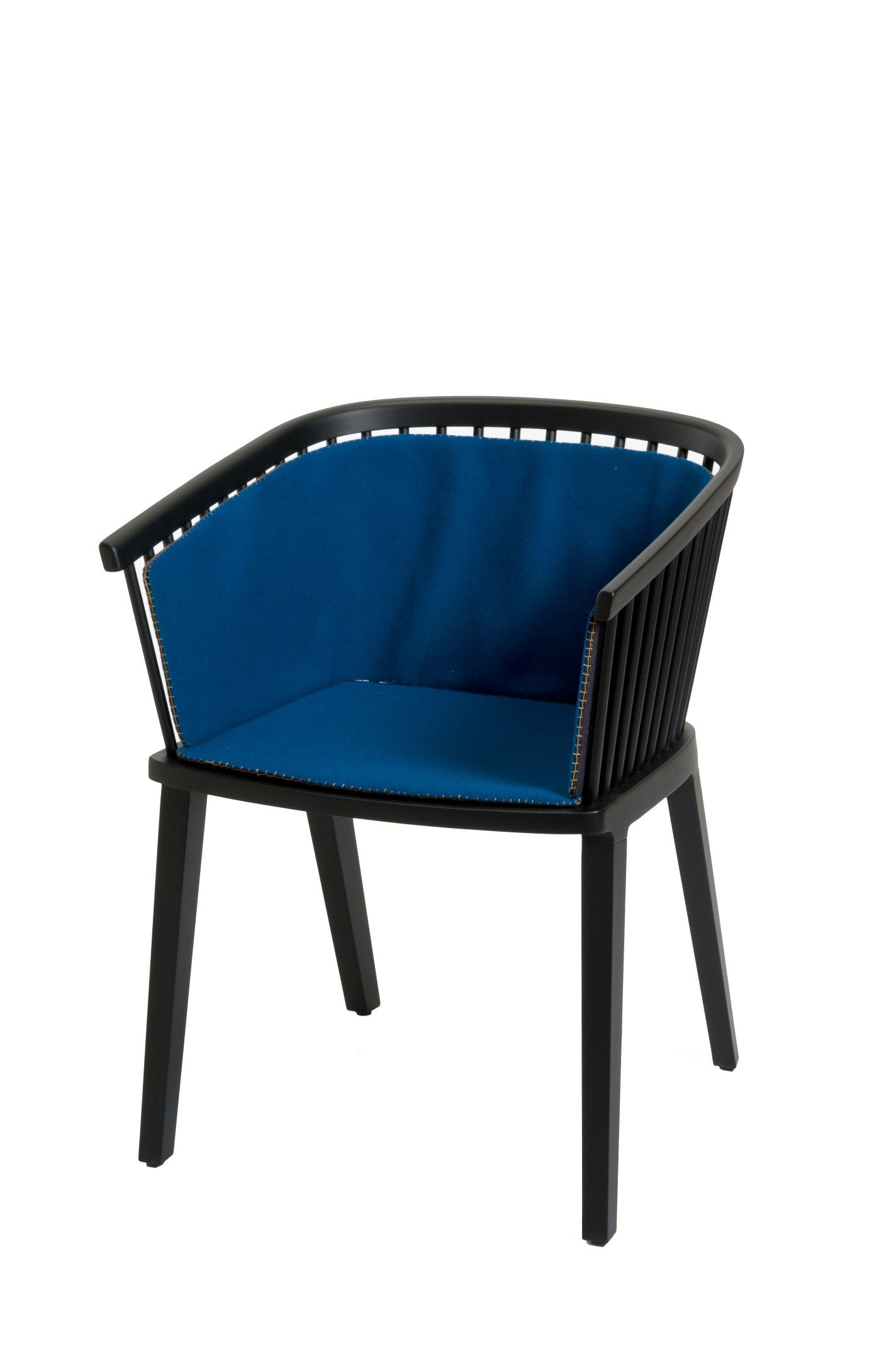 """Secreto Little Armchair - Modern and traditional at the same time. Inspired to the traditional Windsor chair with a clear brief brilliantly interpreted by duo Lorenz and Kaz: """"to work inspired by traditional furniture creating industrial design with artisan taste"""". A key element is the structure, which denotes the complexity linked to the manufacture and to different levels of details, especially in the back, composed of interlocking rods inserted into the base one by one by hand.  UPHOLSTERY A wide variety of cushion options are available in different colours and fabrics which can be discussed on request.  
