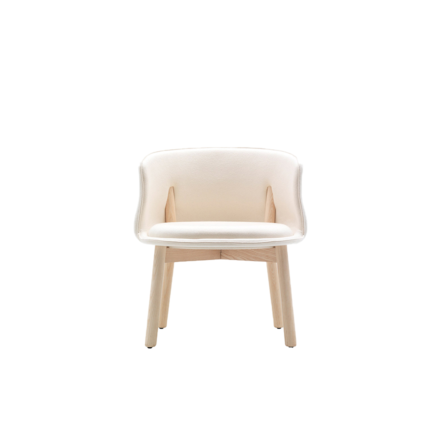 Peg Armchair - Inspired by the city cars that casually scoot around the streets of Milan, such as the famous Fiat 500, the Peg Armchair has a low, rounded shape, resting atop solid ash wood legs with a bleached, oak-stained, wengé-stained or black-stained finish. The legs perforate both sides of the backrest: thanks to this detail, the Nendo studio ably provides proper back support and ideal comfort for anyone sitting in this small armchair.