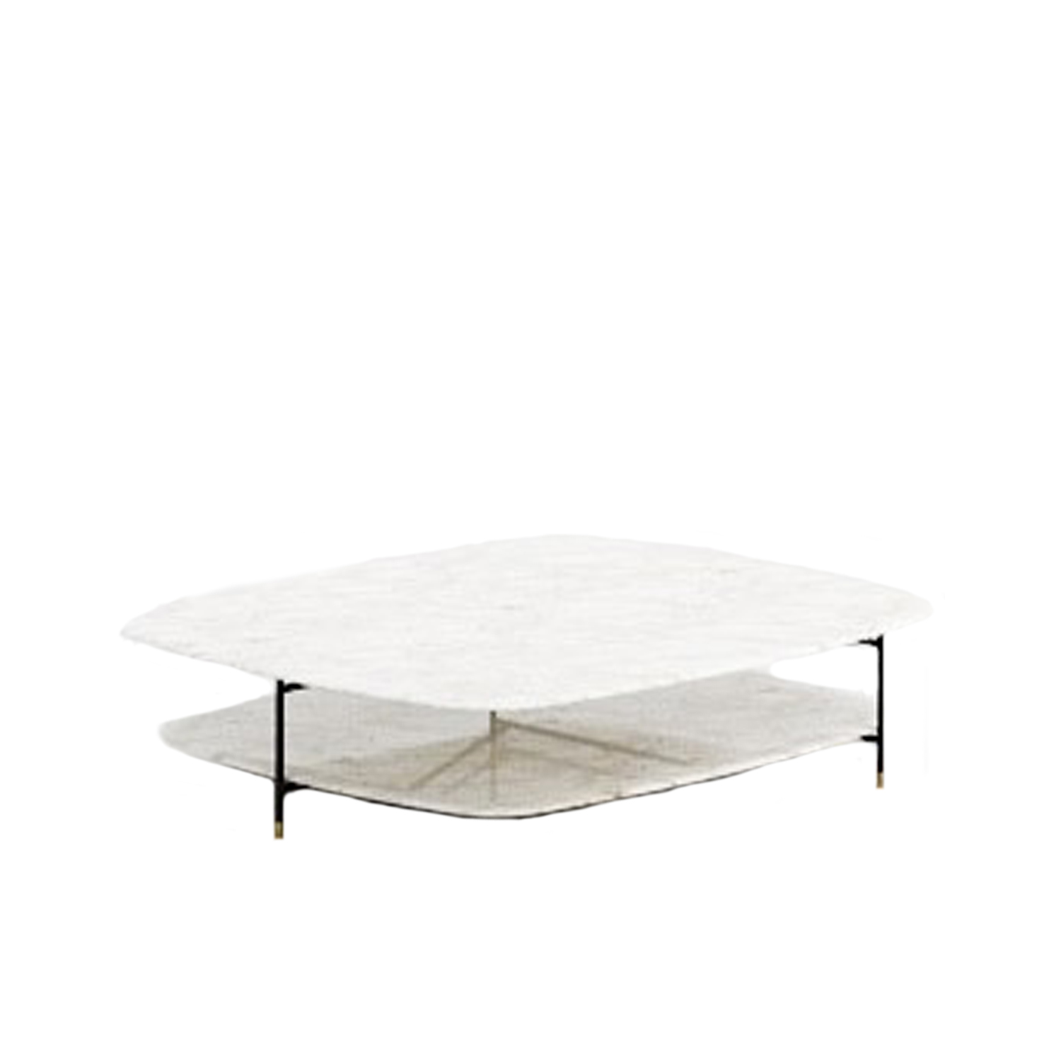 Adrian Square 130 Low Table - Collection of occasional tables featuring smooth edged tops, almost visually floating on a slim frame.  Realized in various dimensions, the Adrian coffee tables are available with tops in matt or glossy lacquer or in the different marble kinds. The frame in tubular metal can be entirely in bronzed brass or black – also completed by refined bronzed brass tips. | Matter of Stuff