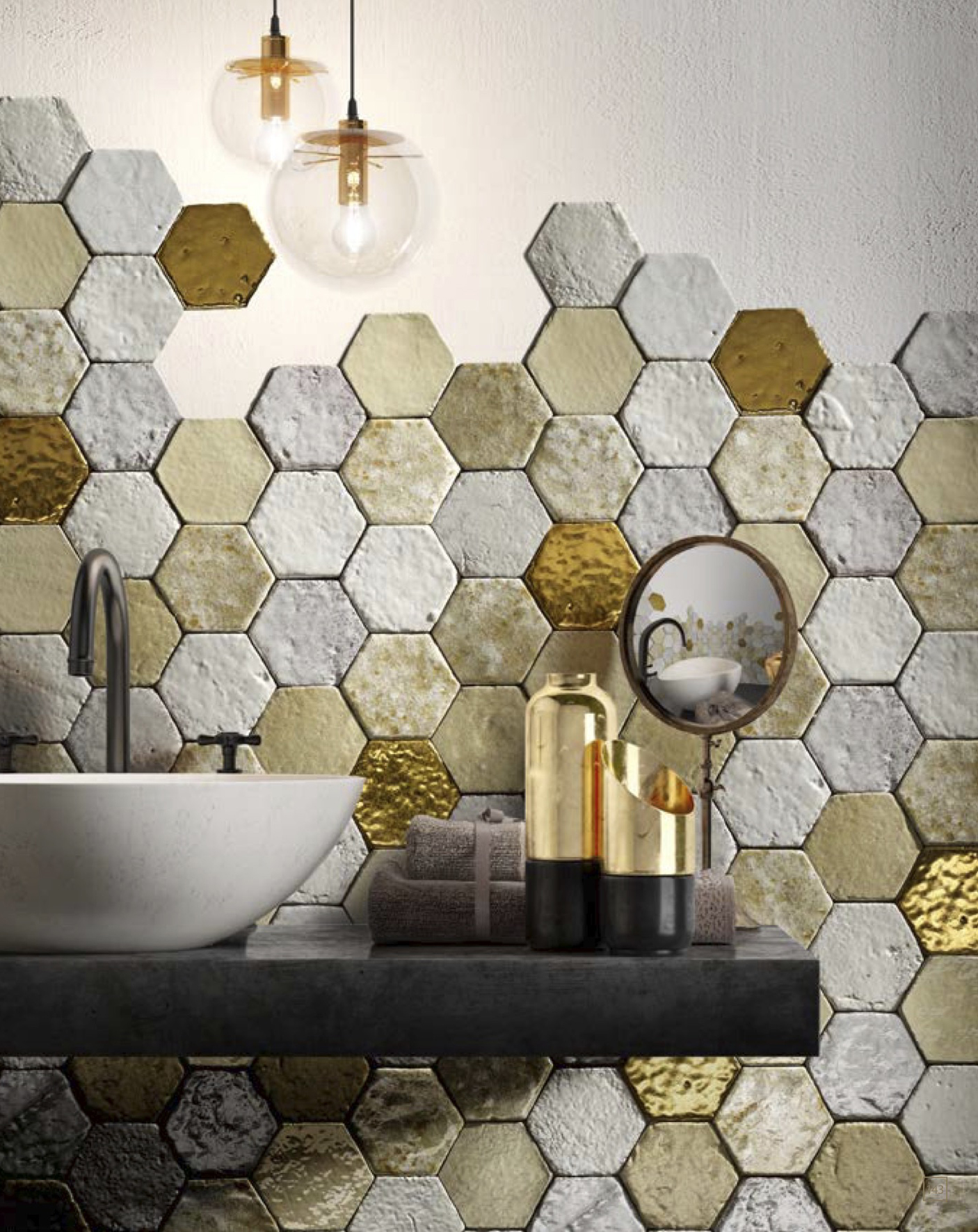 Hexagon Tiles Bianchi Misti Oro -  | Matter of Stuff