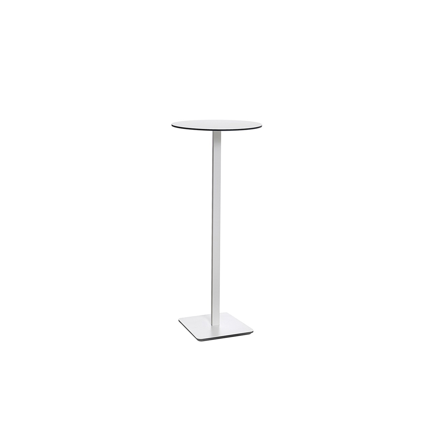Ponoq Round High Table - In the beginning, ponoq (2009-2010) was a wall mounted coat rack in compact laminate. Our product development led to free-standing clothes hanger with base and pillars, with or without umbrella stands. The pillars and the base-plate made it easy to develop further with a tabletop/base plate in the compact laminate which became a table. The pedestal table ponoq's base-plate can be secured to the floor using a concealed fitting and ideal in environments that are subjected to a lot of hard wear and tear.  Pedestal table comes in seven heights, with rectangular or round tabletops in a choice of sizes. ponoq has a tabletop/base-plate in white or black compact laminate, and supporting pedestals in white or black lacquered metal. ponoq pedestal table is ideal for waiting rooms, corridors, schools, museums, art galleries or wherever furniture needs to cope with a lot of hard wear and tear.  Additional heights and dimensions are available, please see technical sheet attached and enquire for more details. | Matter of Stuff