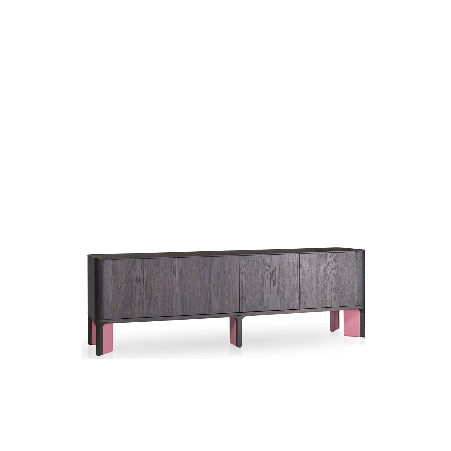 Acro-Bat 003 Sideboard - <p>Sideboard in various sizes with round corners (curved side plywood). Four push-pull doors and inside shelf, base in two sections in wood and lacquered or total lacquered. Extra internal cabinet always lacquered as the base.</p>