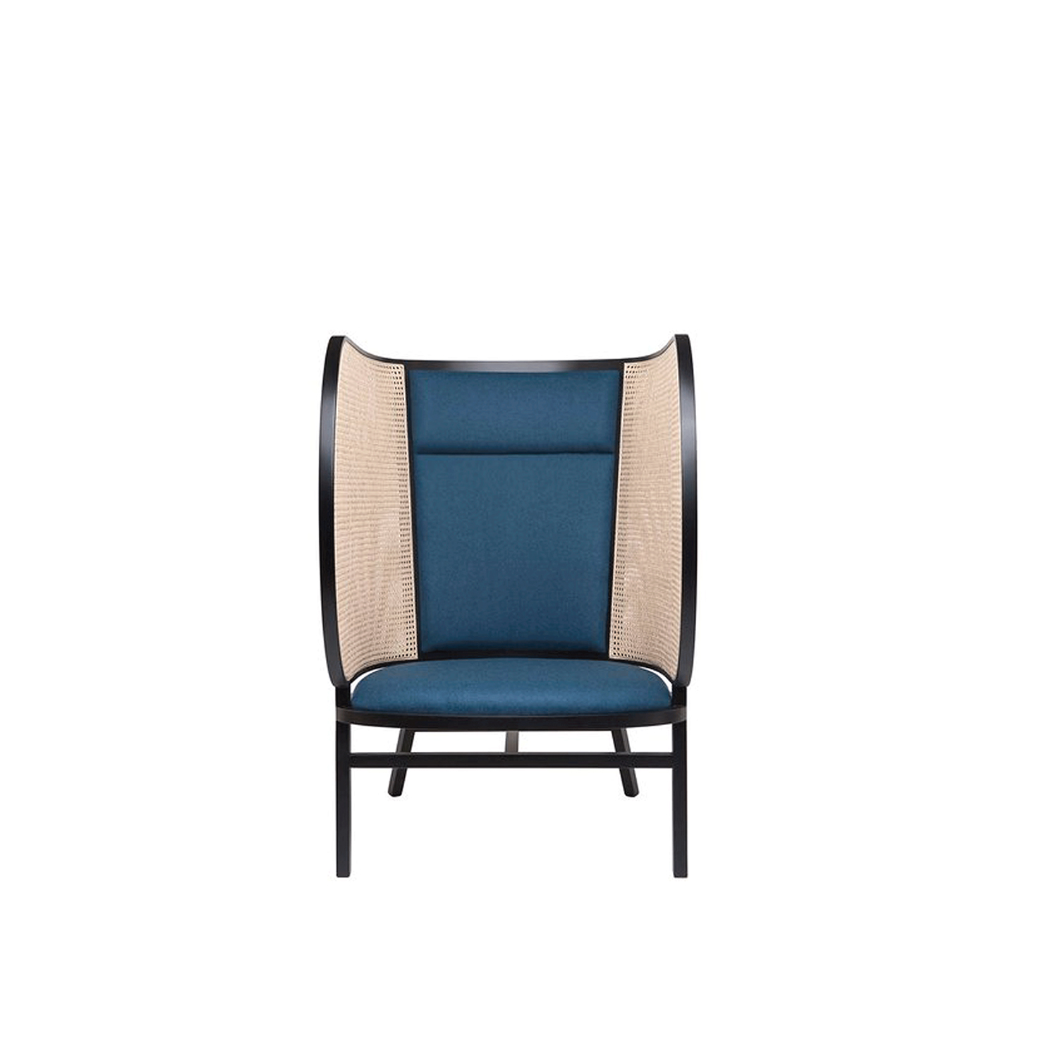 Hideout Lounge Chair - A magnificent and intimate piece, this lounge chair was designed by Front in 2015. It features two staples of Viennese traditional furniture: the Viennese straw that covers the enveloping sides, and the steam-bent beechwood with black lacquered finish. The structure features a round section and boasts a high back that creates a welcoming spot in a modern living room or classic study. A cushion adds comfort to the seat and central backrest.  | Matter of Stuff
