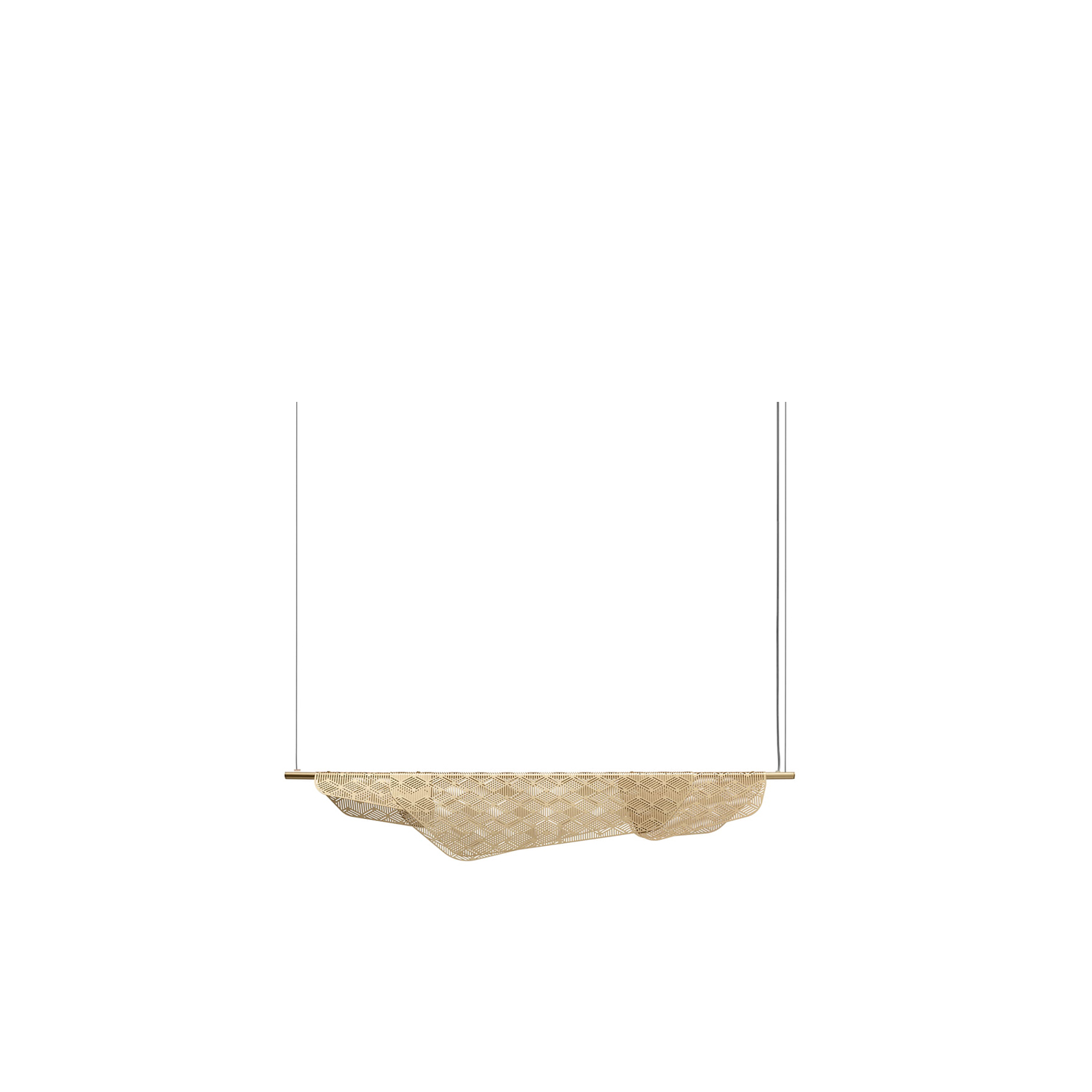 """Mediterranea Dimmable Pendant Light 1 M - Inspired by the weightlessness """"of laundry billowing in Mediterranean balconies"""" Noé Duchaufour-Lawrance designs MEDITERRANEA, a series of light in brushed brass and LED. Resting on a light structure, the cloth of metal sculpts and diffuses the light through the lively and geometric pattern. This symbolism is also applied to suspension, wall, reading and standard lamps.   