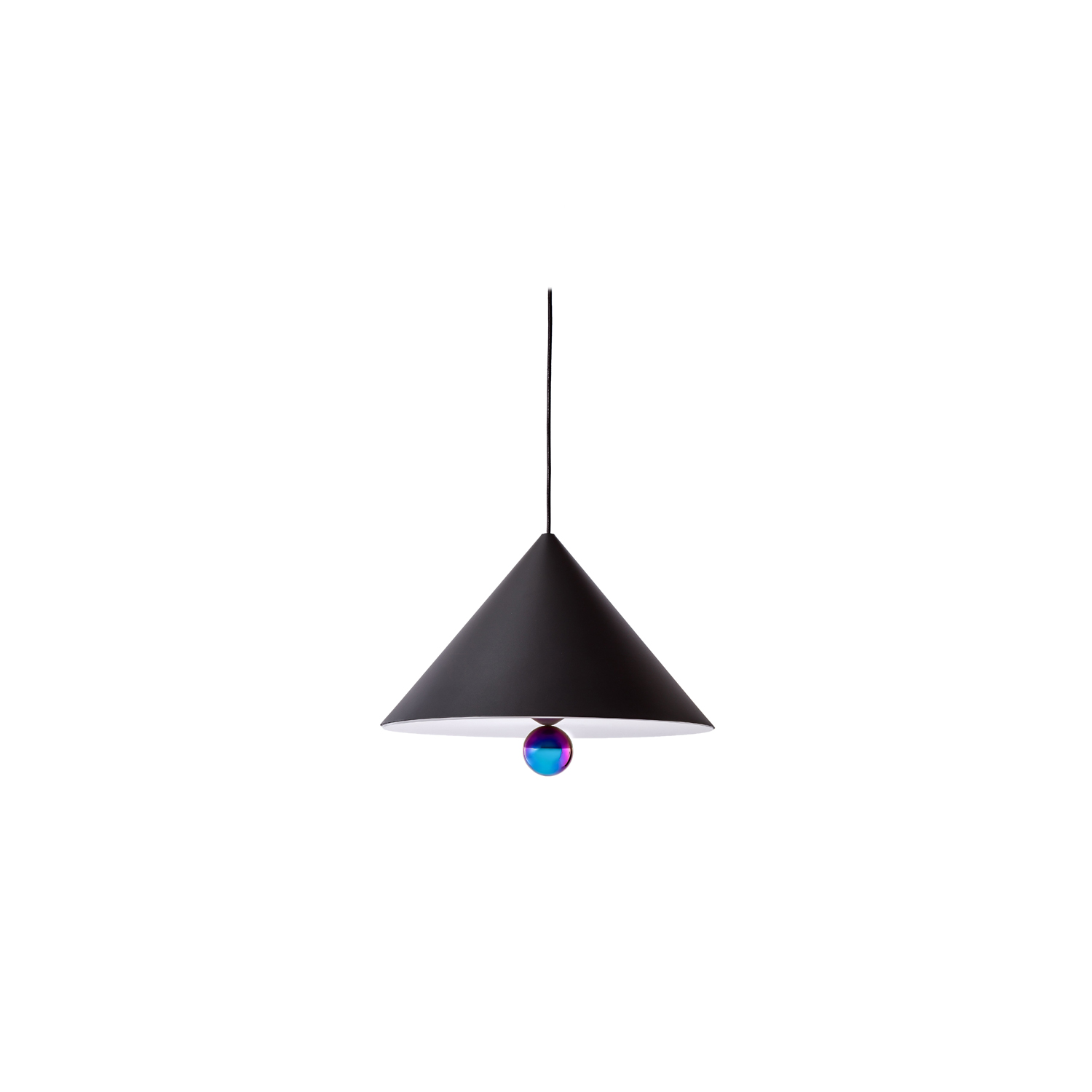"""Cherry Pendant Light Large - The duo of Australian designers DANIEL • EMMA has created CHERRY a simple and minimal suspension - an aluminium cone sub-mounted with a sphere - and manages to create a subtle ratio of light between the diffuser and the ball at the finish shimmering. """"The CHERRY suspensions refer to our child's soul: to the gums we collected and more obviously to the ice cream cone with the cherry at the top that we loved so much."""" DANIEL • EMMA  