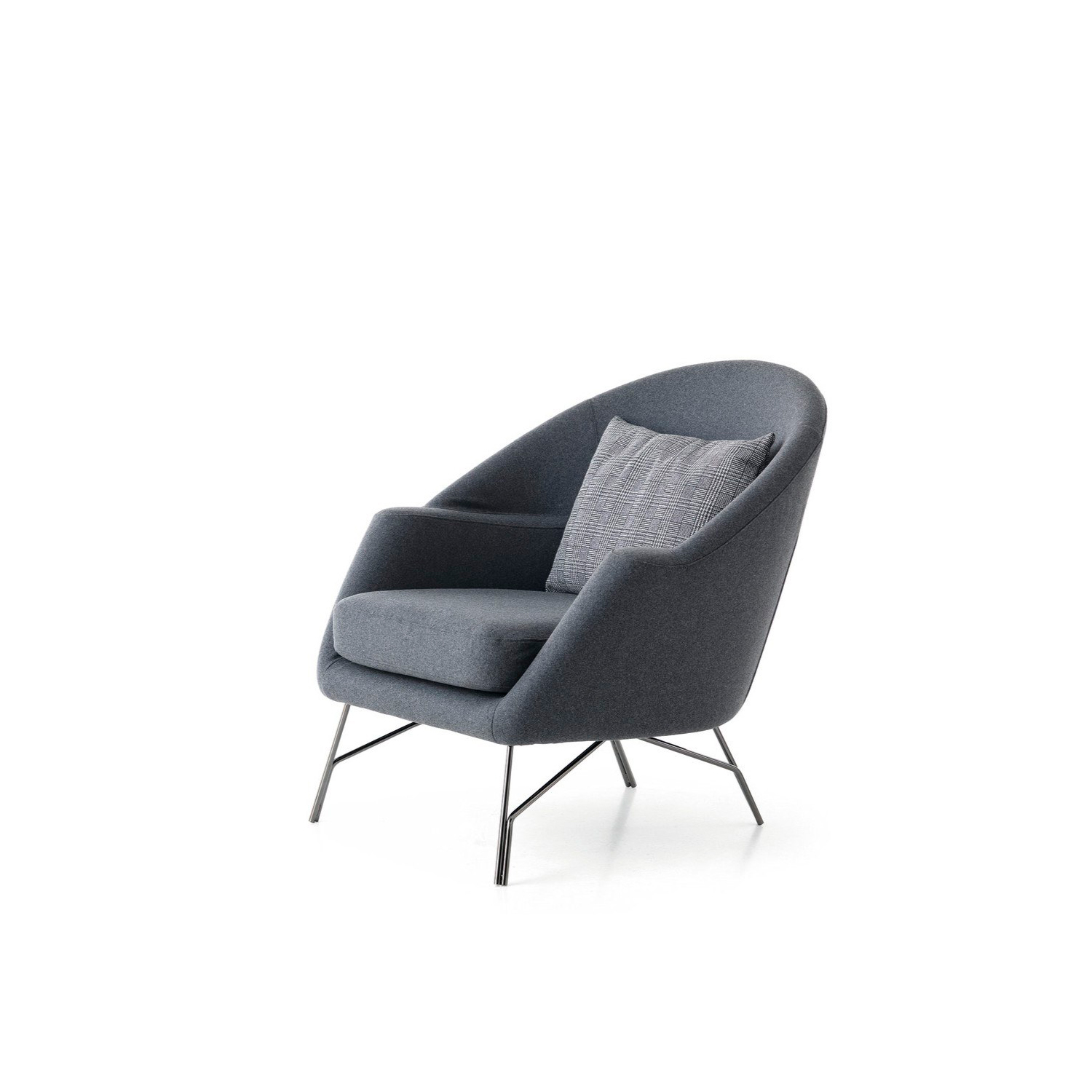 Chillout Fabric Lounge Armchair - As soothing as background music, Chillout explores the new design trend that recreates old classics with a modern twist. Designed by Giuseppe Viganò, this piece of furniture draws its inspiration from a laid-back living area, whilst its slinky shape harks back to the '50s. Sharp tailoring details and an original armrest give Chillout a balanced appeal and make for a highly comfortable seat. Slender yet inviting with a sleek retro feel, it oozes the unique allure of handmade objects. From home interiors to contract projects, this is an all-purpose purchase which will fit perfectly into any surroundings. Fully removable covers.   Additional removable cover is available, please enquire for prices.  Materials Structure in plywood with variable-density polyurethane foam covered with fine velvet coupled with resin 150gr/sqm. Feet in 12 mm wire drawn black nickel finish. The seat cushion is made with polyurethane foam core and memory foam covered with fine velvet coupled with resign 100gr/sqm. The lumbar cushions is made in 100% cotton fabric and padded with washed and sterilized goose down. | Matter of Stuff