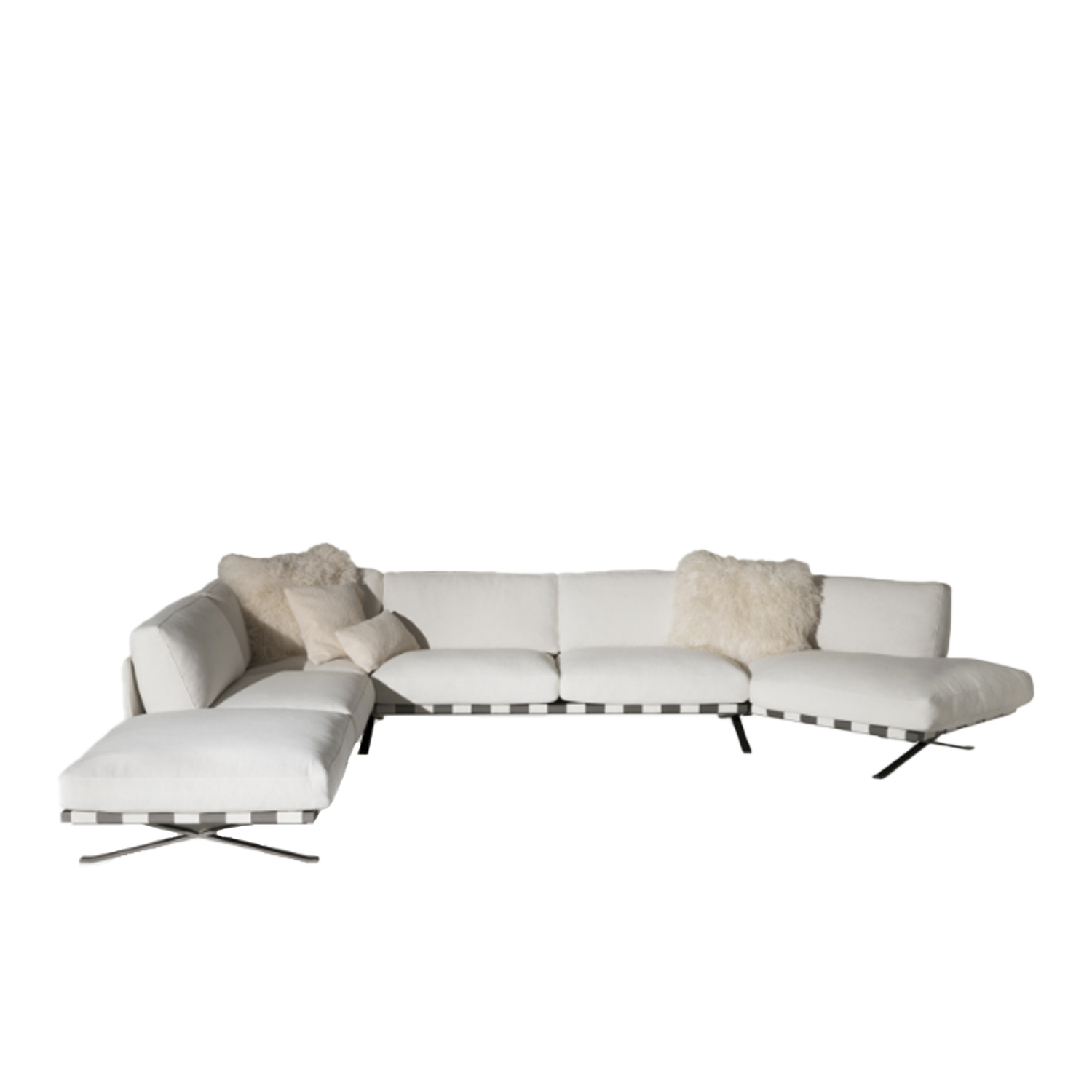 Fenix Modular Sofa - The sectional sofa is the theme that has characterized typological design since the 90s of last century. Ludovica and Roberto Palomba confront it, emphasizing the sense of suspension from the ground, thanks to a thin metal structure and developing, in the version with terminals, a great peninsula from the gracefully asymmetric shape. | Matter of Stuff