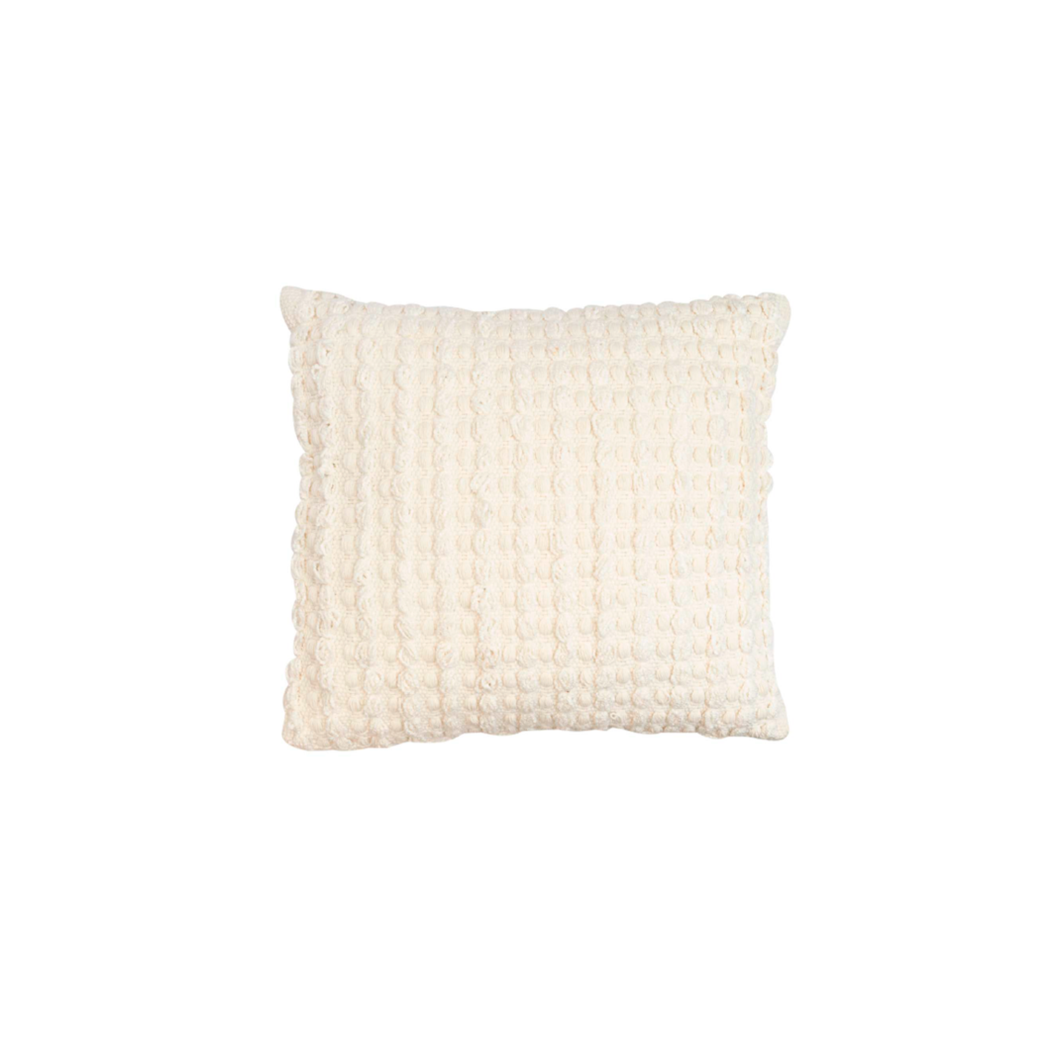 Estrela Branca Cotton Cushion Square - The Flame Sustainable Collection is made from a selection of organic cotton fibres, eco-friendly, hand-woven or elaborated using traditional hand-loom techniques. Carefully knitted within a trained community of women that found in their craft a way to provide their families.  This collection combines Elisa Atheniense mission for responsible sourcing and manufacturing. Each piece is meticulously hand-loom by artisans who practised methods with age-old techniques. With a minimal electricity impact, each item crafted is therefore unique and exclusive. Weavers and artisans are the ultimate lifelines of Elisa Atheniense Home Products.  The hand woven cotton, washable cushion cover is made in Brazil and the inner cushion is made in the UK.   | Matter of Stuff