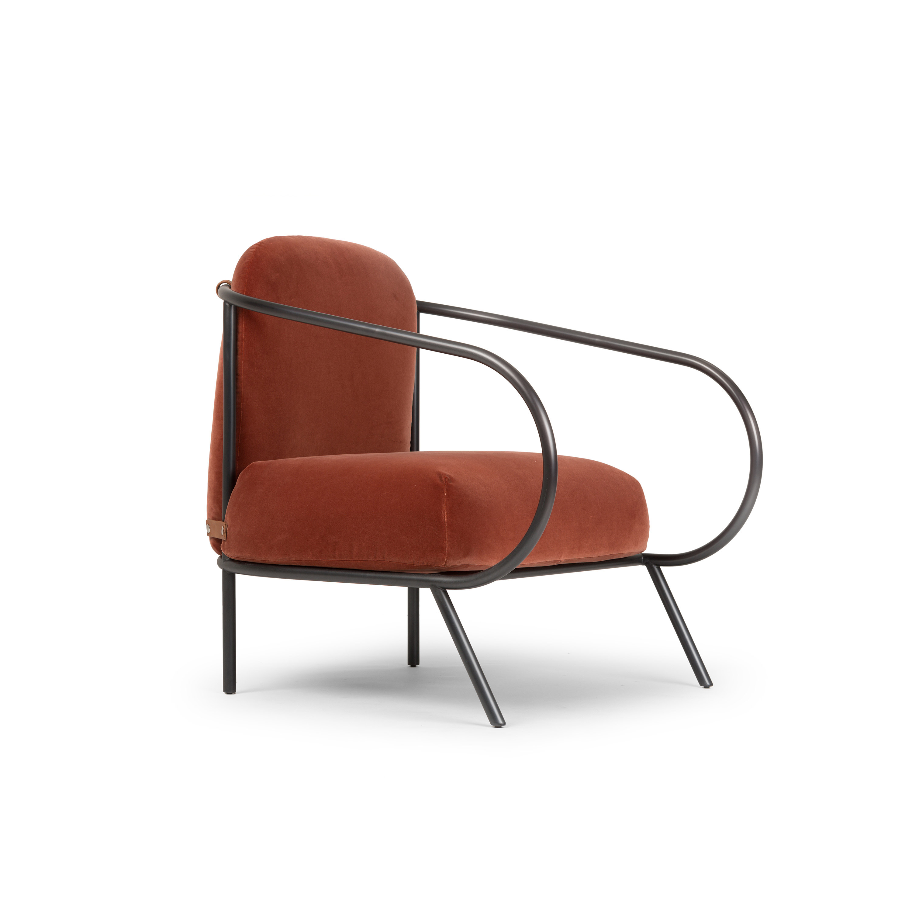"""Minima Armchair - Minima is the first armchair in the Mingardo catalog and the first time that the company has to deal with upholstery. The armchair rests on the ground with the """"unique"""" added elements that serve to strengthen the structure itself. The padded parts are """"hinged"""" by straps and become the only detail of the structure, intentionally left exposed. Minima fits discreetly into living and non-living spaces.  