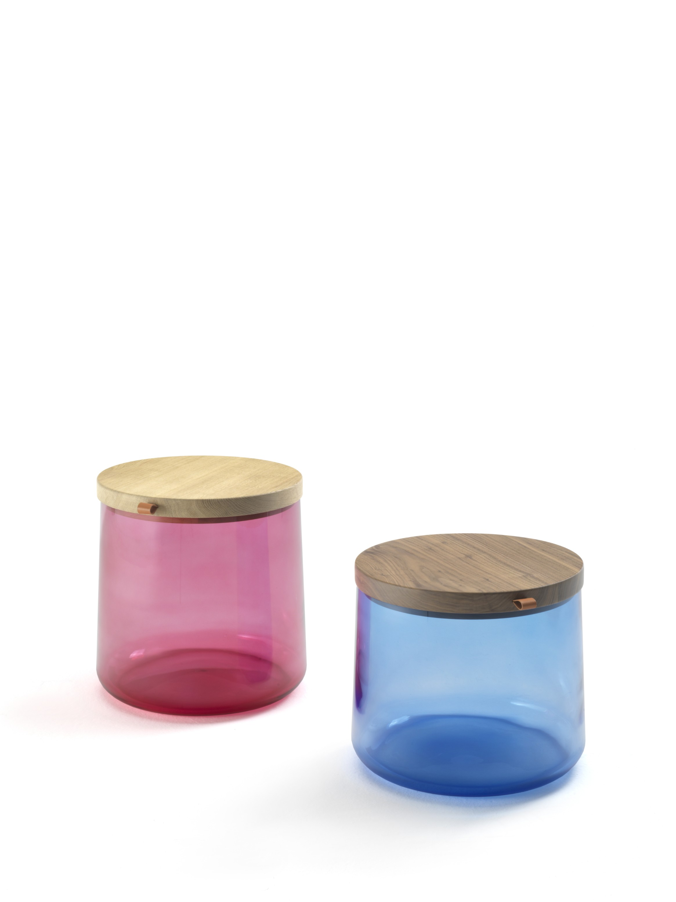Tea Side Tables - A little series of small container tables made up of a big colourful glass vase in which you can place objects, newspapers or other personal items and a wooden cap that works as a table top and can be useful as a tray. The glass vase is available in a wide range of colours on request, please enquire for more details. | Matter of Stuff