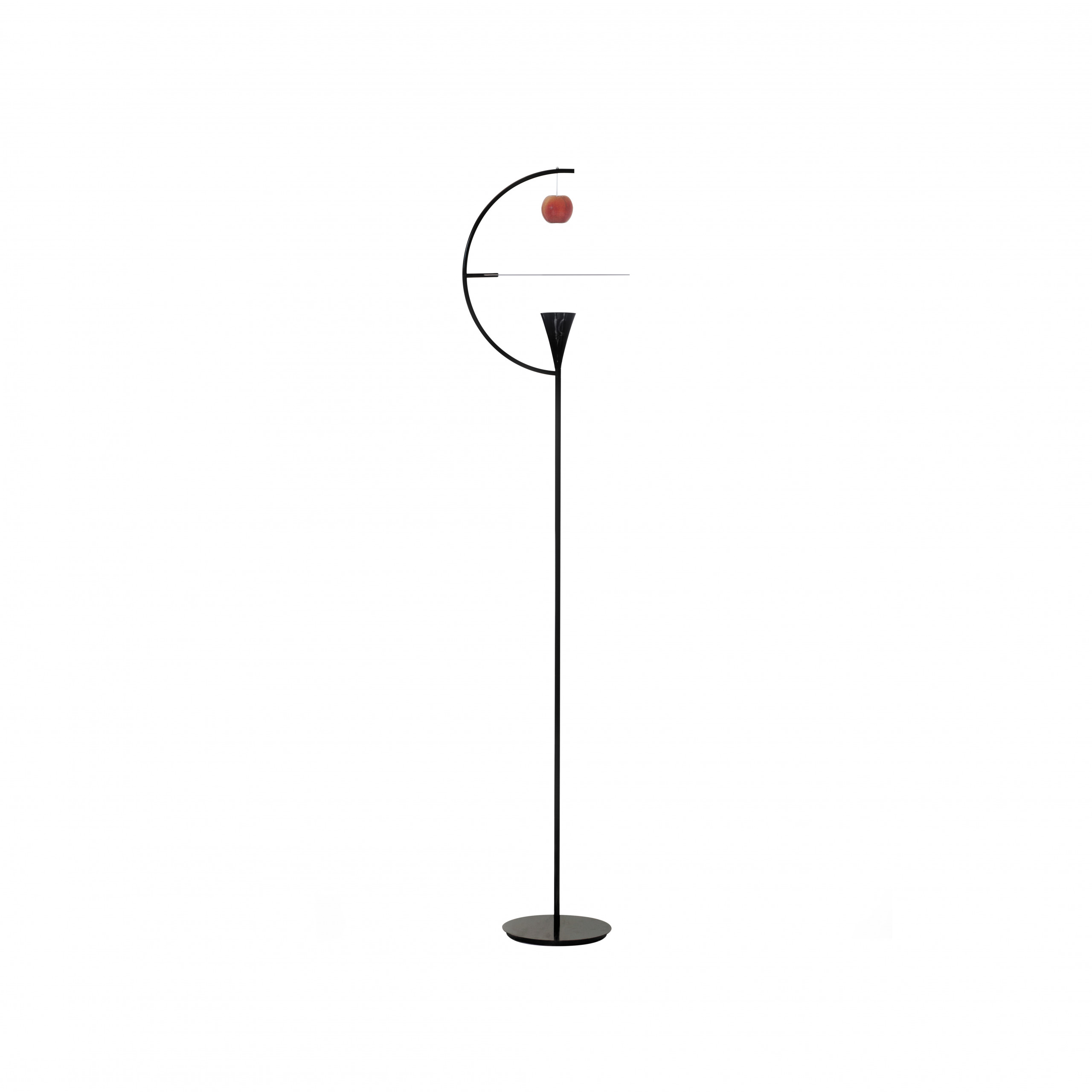 Newton Floor Lamp - Floor LED lamp with structure in chrome metal or glossy black lacquered and white painted aluminium diffuser. The diffuser rotates and illuminates the natural element, in a mixture of direct and diffused light. A high performance LED source has been provided to reproduce the colours and nuances of the apple as faithfully as possible. Characterized by a playful reference to the anecdote of the apple that fell on Newton's head making him guess the existence of the force of gravity. Pedal switch dimming.