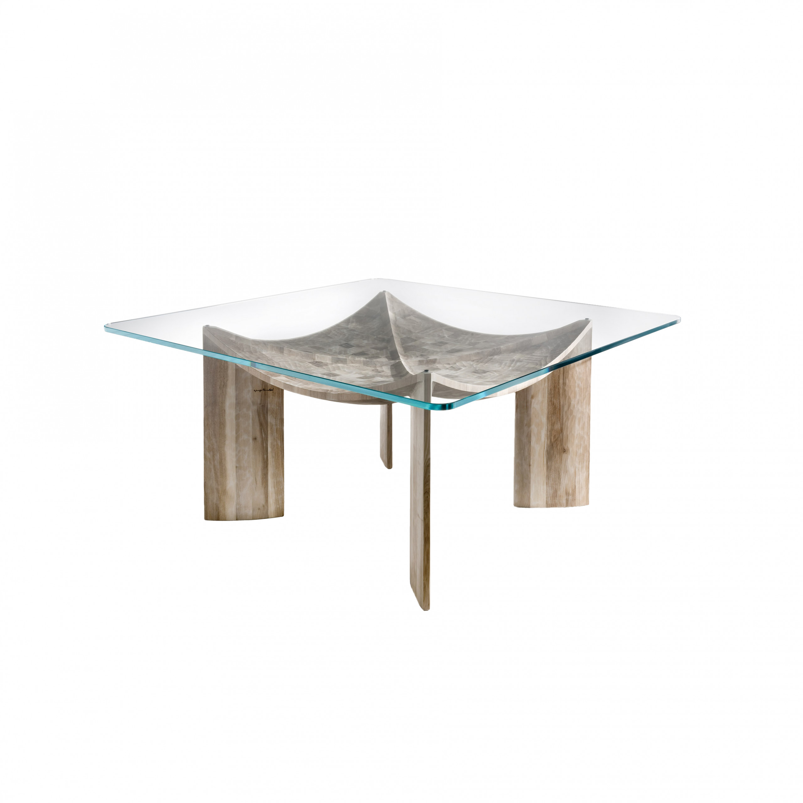 Vela Dining Table - <p>Vela is a table made as a single block using wood with vertical grain. It is manually finished on all sides using a gouge. The top is made of 2 cm thick extra-clear glass.<br />