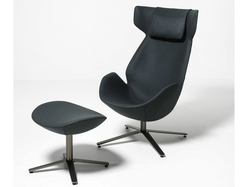 Shelter Footstool - With its egg-shaped structure and the large headrest completed by a cushion, Shelter armchair is designed to embrace the body. Protective and enveloping, it is characterized by an extremely simple and light design, made of harmonic curves and thin profiles, which give to this armchair a unique charm. | Matter of Stuff