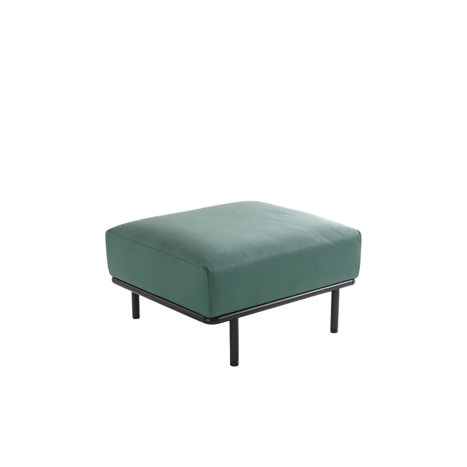 Cap Ferrat Pouf - Cap Ferrat sofa by Carlo Colombo is the emblem of a new collection marked by a rigorous and virtually atemporal design, capable of maintaining an airy appearance, even in large-scale dimensions.  Cap Ferrat sofas, like the homonymous armchairs, are made of multi-density polyurethane and fiber, a solution that guarantees noteworthy comfort. The multiple finishes of the slender metallic base and the ample upholstery selection (which includes fabric, leather and eco leather) allow for a highly customized collection that is equally versatile in appearance and destination. The light and minimal design – though undisputedly solid and resistant – makes Cap Ferrat sofa the ideal choice for domestic as well as high-traffic Contract settings.  | Matter of Stuff