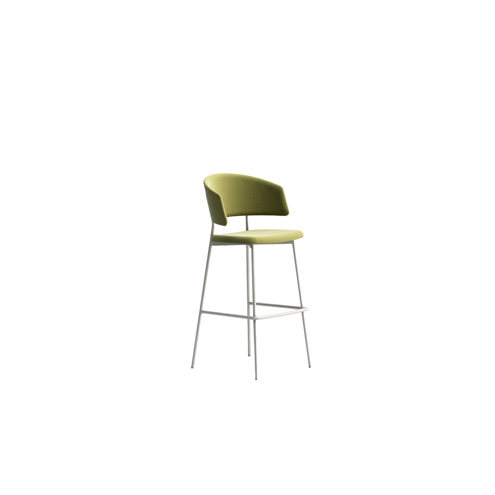 Wrap Steel 6C72 Stool - The metal-chic collection that manages to combine elegance with simplicity. Comfortable and functional, Wrap Steel emits signs of a transversal style. Stool comes in a lacquered steel frame, with fabric, leather or eco-leather upholstery. Brass finish for the frame is available too. | Matter of Stuff