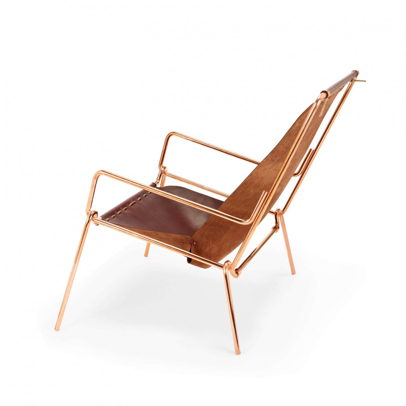 Pinch Lounge Chair - <p>The tubular steel frame is hand bent and finished in Italy and can be disassembled to interchange the leather jackets.<br /> The chair is made out of a single piece of vegetable tanned leather and is handmade in England.<br /> This lounge chair only uses copper rivets and vegetable tanned leather cord to create a floating seat that has both the structured feel of an armchair and the relaxed feel of a hammock.<br /> The leather is changeable, different kind of covering upon request.</p>  | Matter of Stuff