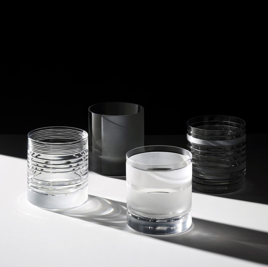 Element Tumbler Glasses - Set of 6 - A rich assemblage of graphic markings defines the Elements series of lead crystal. Cuts and textures of varying depth and intensity are employed across glasses to create a landscape of layered pattern that is fresh and seductive; a whole new take on the decoration of cut crystal. Set of 6 tumbler glasses.  | Matter of Stuff