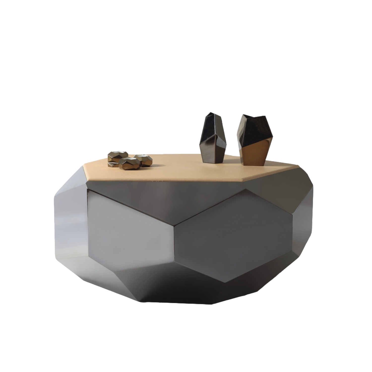 Altair Coffee Table - Altair is a coffee table entirely worked by hand with traditional craft techniques. The structure is in stainless steel with black nickel finish and the top is available in Leather or Patinated Brass. 100% made in Italy.  | Matter of Stuff