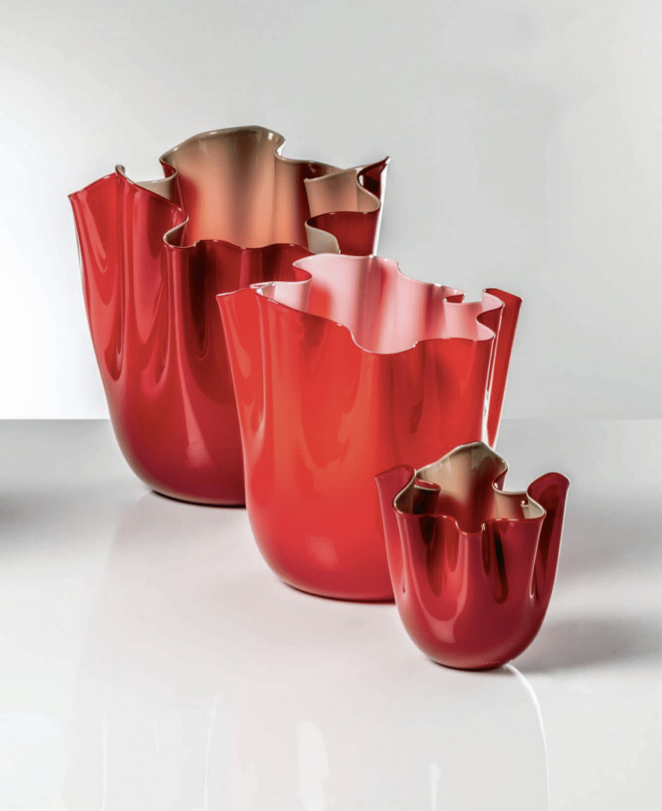 "Fazzoletto Opalino Vase - ""An exclusive new take on the Opalini technique from the 15th century makes its colour unique. The creative genius of Fulvio Bianconi makes its shape inimitable, recalling skirts swaying in the breeze. Every Fazzoletto Opalini is truly unique: there's not another one like it anywhere."" 