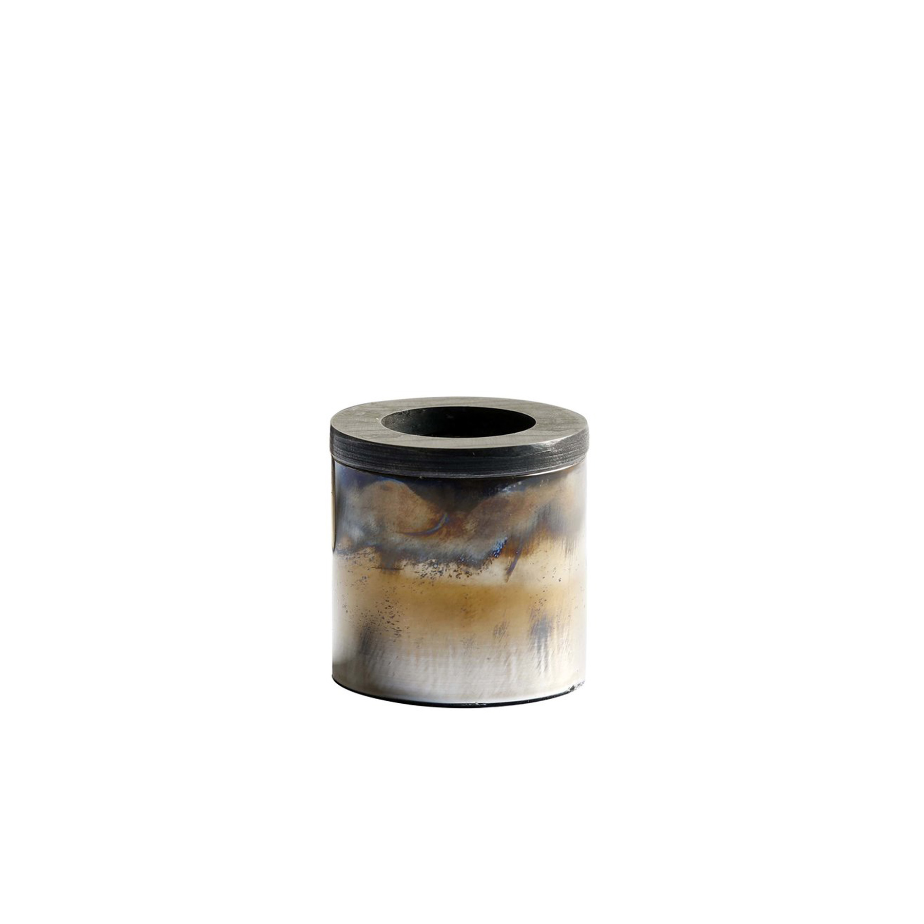 Damascus Candleholders - Candleholders in stainless steel, copper and brass, made by hand to order. The unique textures and colours are obtained by exposing the external part of the cylinder structure to a naked flame. They can be sold on their own or as a beautiful set.   | Matter of Stuff