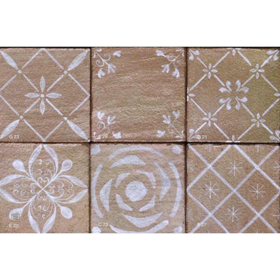 Square Cotto Tiles Decorations - Other Decorations Possible are:  E59 Cerchio,B11 Provenzale,G40 Mughetto,E23 Nemo,E45 Canestrello,G22 Neve,  G41 Orione,C74 Quadrifoglio,E26 Rombetti,G23 Prisma,E29 Viola,G21 Chicchi,  E22 Narciso,C73 Rosa Piccola Liberty,E27 Asterischi | Matter of Stuff