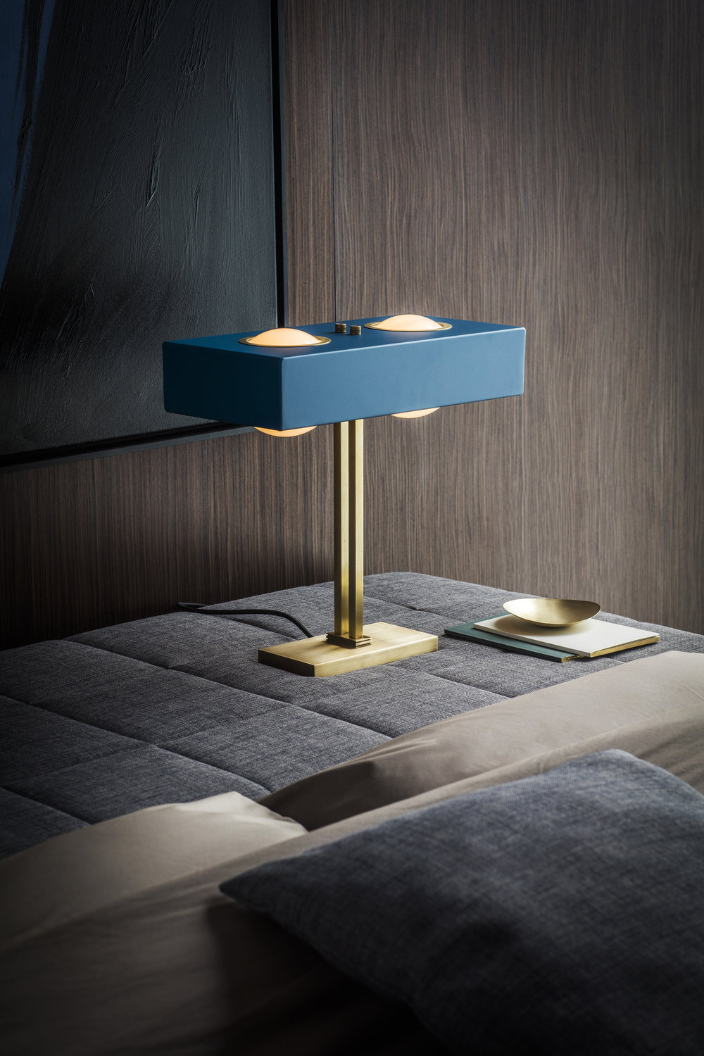 Kernel Table Lamp - <p>The solid brass base and angular form of this table lamp is softened by the warm glow of opal glass globes and the unexpected detailing in the brass diffuser and highlights.</p>  | Matter of Stuff