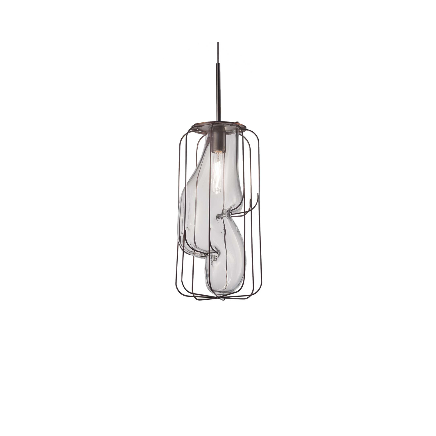 Pause Pendant Light - The Pause Pendant Light has had the molten glass blown slowly into it so that it gradually drops down into the wire frame. It suits commercial areas such as restaurants and bars as well as fitting perfectly into your home. It is available in two finishes: Smooth Milk White and Smooth Crystal which is clear so the light bulb inside is visible. Hand made blown glass suspension with the techniques of the old Murano glass masters  250V Input. 1X E14 max 60W ~ IP20 Bulbs  | Matter of Stuff