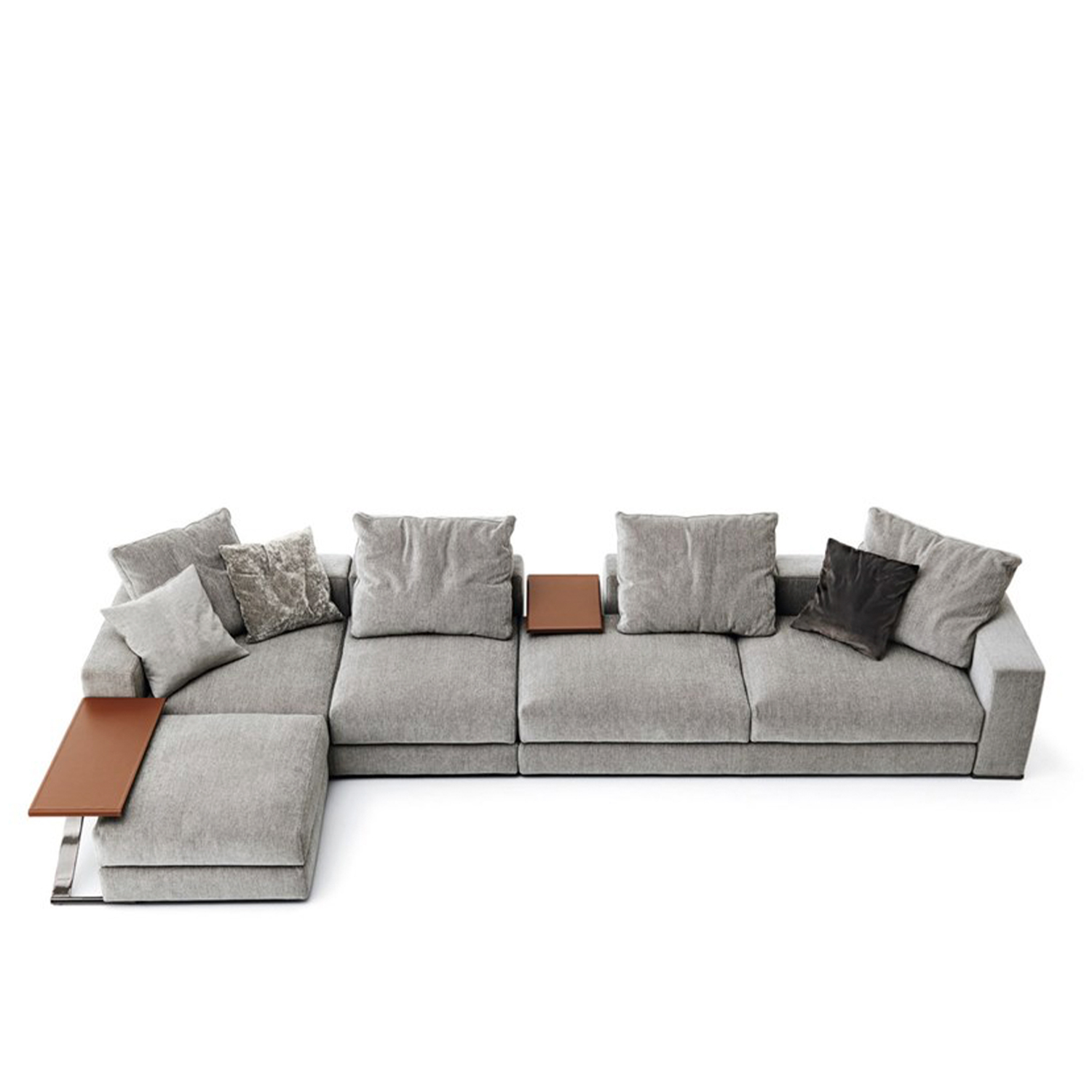 Ananta Class Sectional Sofa - Ananta Class is an informal, modular and versatile range that allows endless combinations of the independent backrests and bases available in 80, 120, 160, 200 and 240 cm lengths.‎ The collection, whose name evokes the concept of infinity, is based on the idea of simple construction: free from constraints of the armrests and backrests, the seating can be arranged to suit individual needs.‎ It is completed with a side table available in two sizes.‎ The black chrome structure holds up a table top available in walnut veneer or regenerated leather.‎ The line offers a new, democratic and modern way of relating objects to people's lifestyles.‎ Fully removable covers.‎