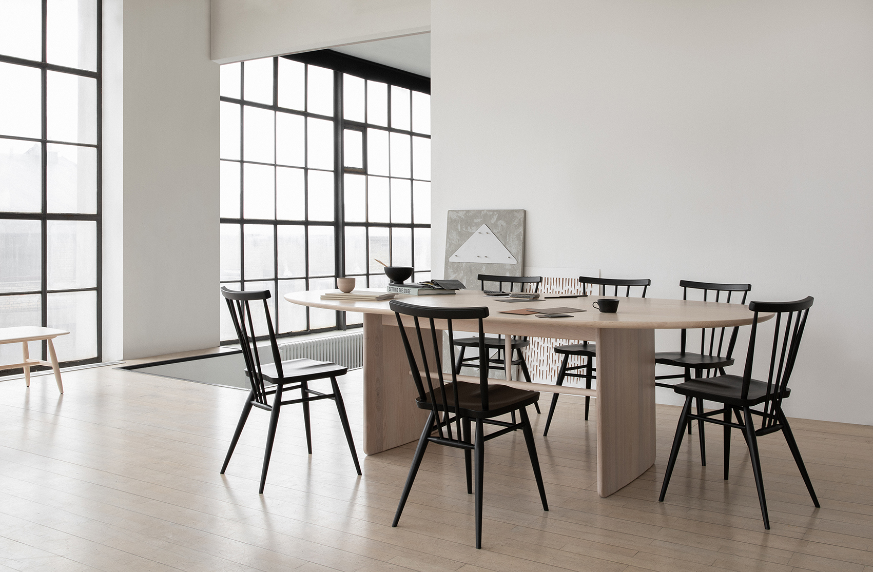 Pennon Large Dining Table - <p>In a modern society filled with distractions, fortunately, you can choose furniture that facilitates your ability to focus and enjoy the company of others. With a dining table that's eye-catching, yet it doesn't upstage you or your dinner. The Large Pennon table by Norm Architects. Where aeroplane wings are echoed in the leg supports and spindles are signature elements in our Ercol designs.</p>