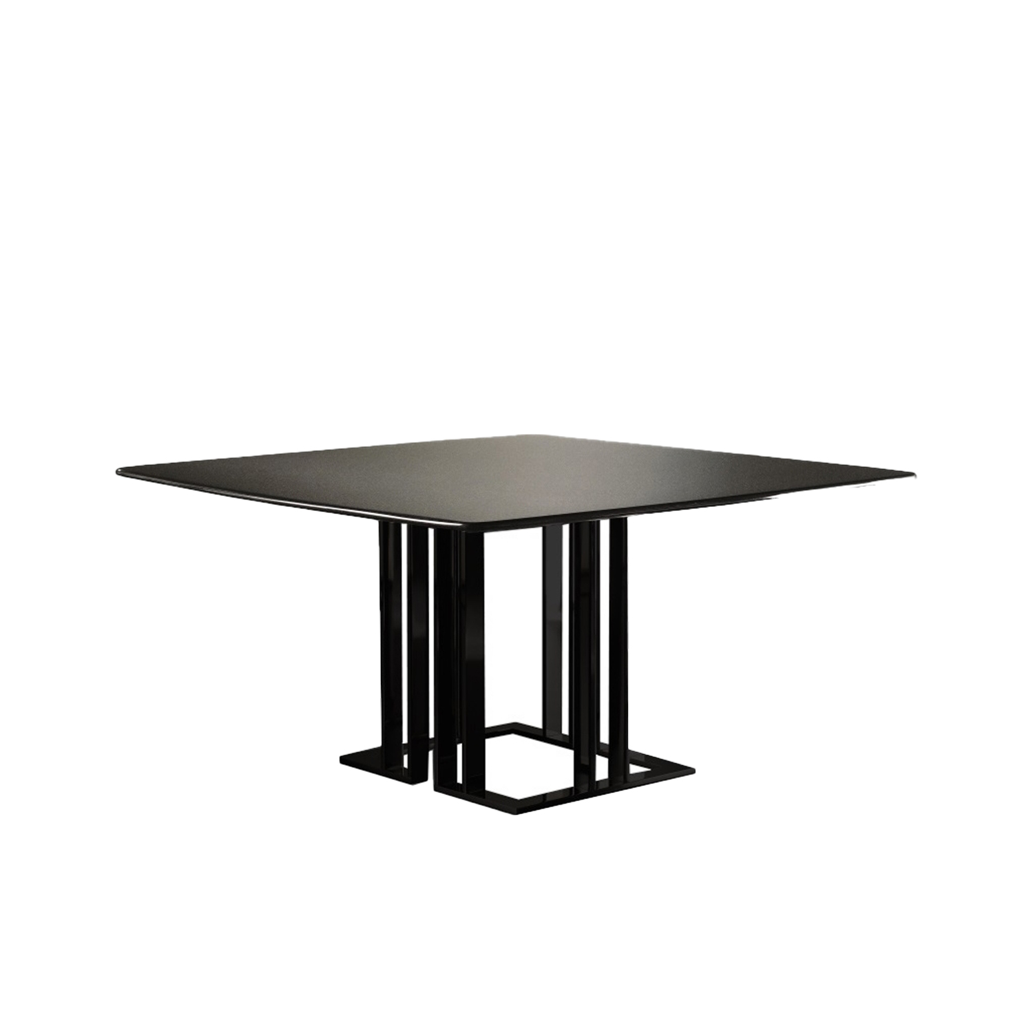 Charlie Square Table - This collection includes tables of various sizes with square, round or rectangular tops. The sophisticated and urban look is determined by the precious metal base in different versions. The wide possibility of customization is pledged also by the several available finishes for the tops. | Matter of Stuff