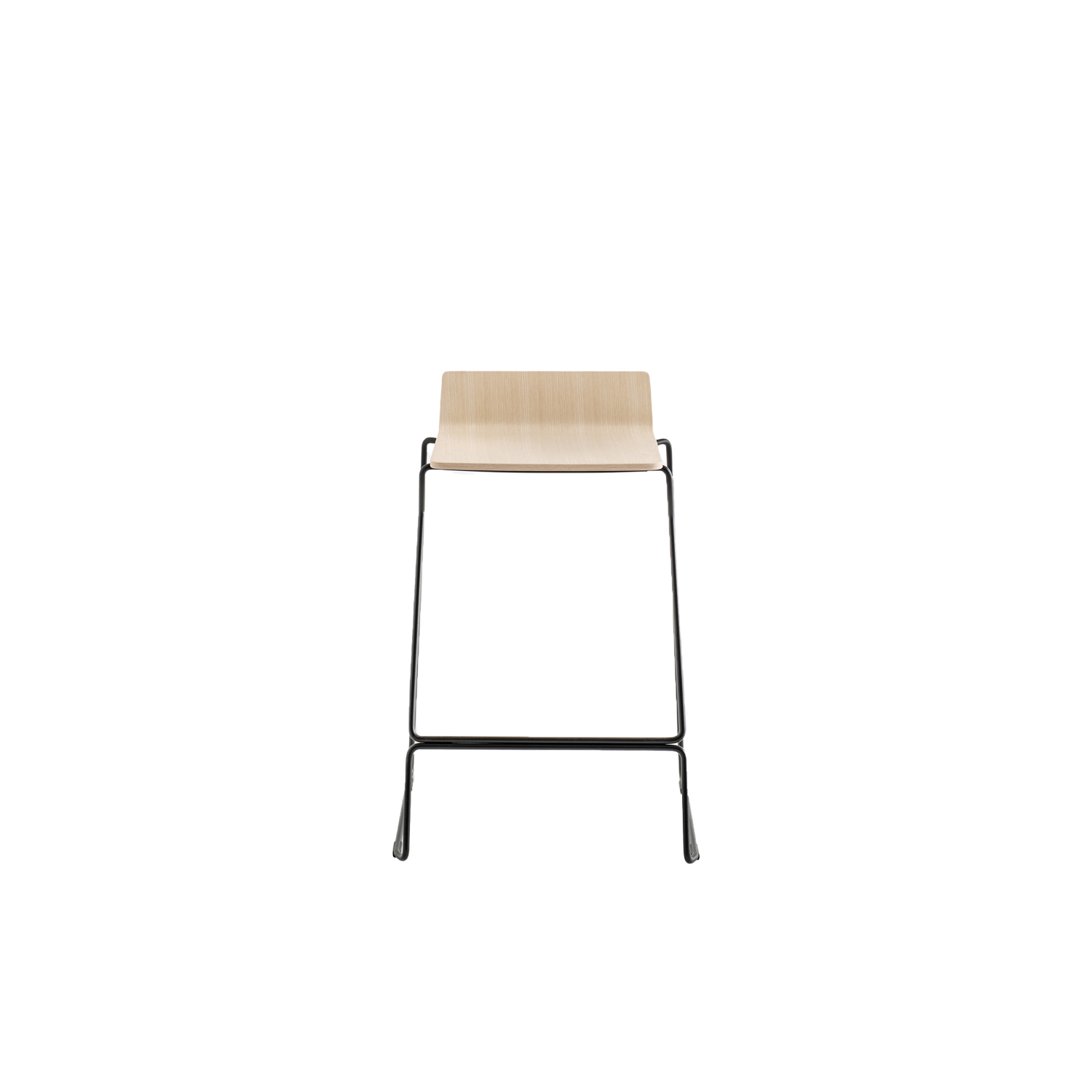 Osaka Metal Low Barstool - Osaka is a collection of seatings with a strong graphic impact whose construction elements remind the linear features of an ideogram. Osaka Metal barstool with ash plywood shell and steel rod sled frame Ø 11 mm. Seat height 650 mm. | Matter of Stuff