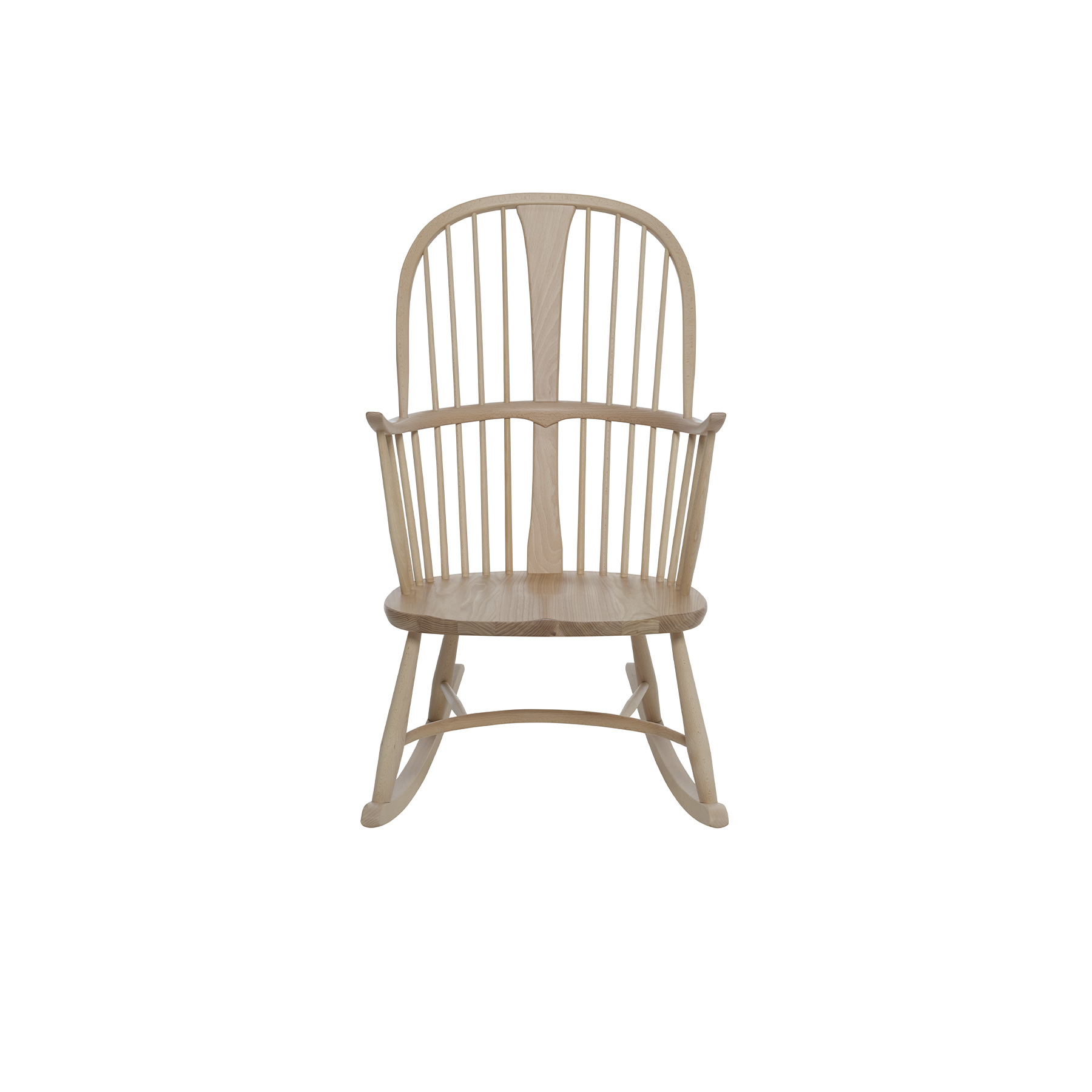 Originals Chairmaker Rocking Chair - <p>The Ercol Originals are pieces of timeless and classic design that never date or show their age. It is furniture that is as relevant and as functional now as it was when it was created in the 1950s and 1960s. This furniture was designed by ercol's founder, Lucian Ercolani, who drew for his inspiration on the time proven local design and craft in the Chiltern Hills around where he lived and built his first factory in 1920 in High Wycombe. Using the strength of beech and the beauty of elm he carried this definition on into a huge variety of dining, kitchen, and school chairs and then extended the idiom into the low easy chair range epitomised by the 206 armchair and the studio couch. The beauty of the colour and the grain of the elm took Lucian on to use elm for the tables and cabinets of the Originals and the following Windsor range. This classic rocking chair encompasses a double bow seat back, central slat and eight turned spindles, all features which are characteristically ercol. Upward turned armrests extending from the central bow and supported by three spindles provide added comfort. The solid ash oyster shaped seat fixes the legs into place. The rockers create a perfectly balanced smooth movement. This rocking chair is the perfect addition to any living room, of contemporary or traditional décor. The chair is available in your choice from our lacquer finishes which both protect the timber and allow the beauty of the natural grain to show through.  Alternatively you can chose from our range of paint finishes to give your room a pop of colour.</p>    Matter of Stuff