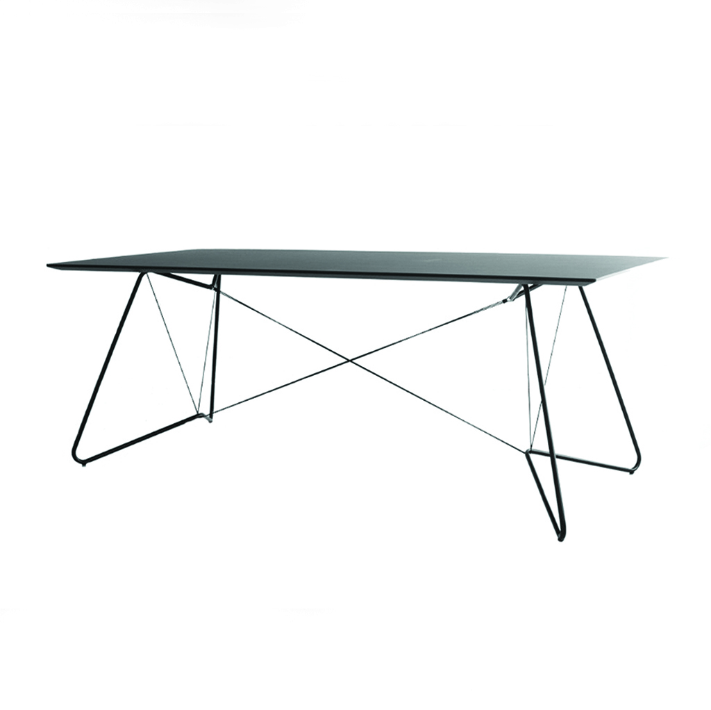 On-a-Strign Table - On-a-string (OAS) Table is an elegant combination of tubes and strings supporting a linoleum or laminated top and is perfectly suited for use as a dining table or an office desk.  | Matter of Stuff