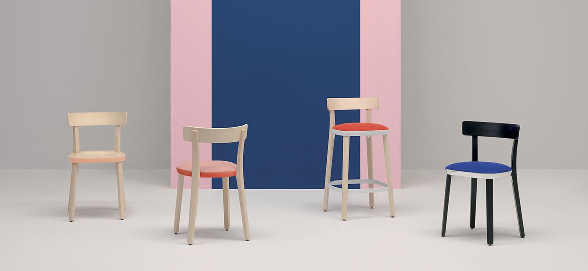 Folk High Stool - Folk collection accentuates the quest for simplicity. Its friendly character, the warmth of ash wood, the soft and compact dimensions, human lines seamlessly convey the concept of a chair that speaks a universal language.  The light, durable die-casted aluminium ring, becomes the structural and distinctive element which enables the barstool to be easily disassembled for recycling purposes or to replace its components. The solid ash frame snugly embraces the aluminium ring that holds the seat in ash plywood. The bent plywood backrest ensures total comfort and cosiness. Seat height 650 mm. | Matter of Stuff