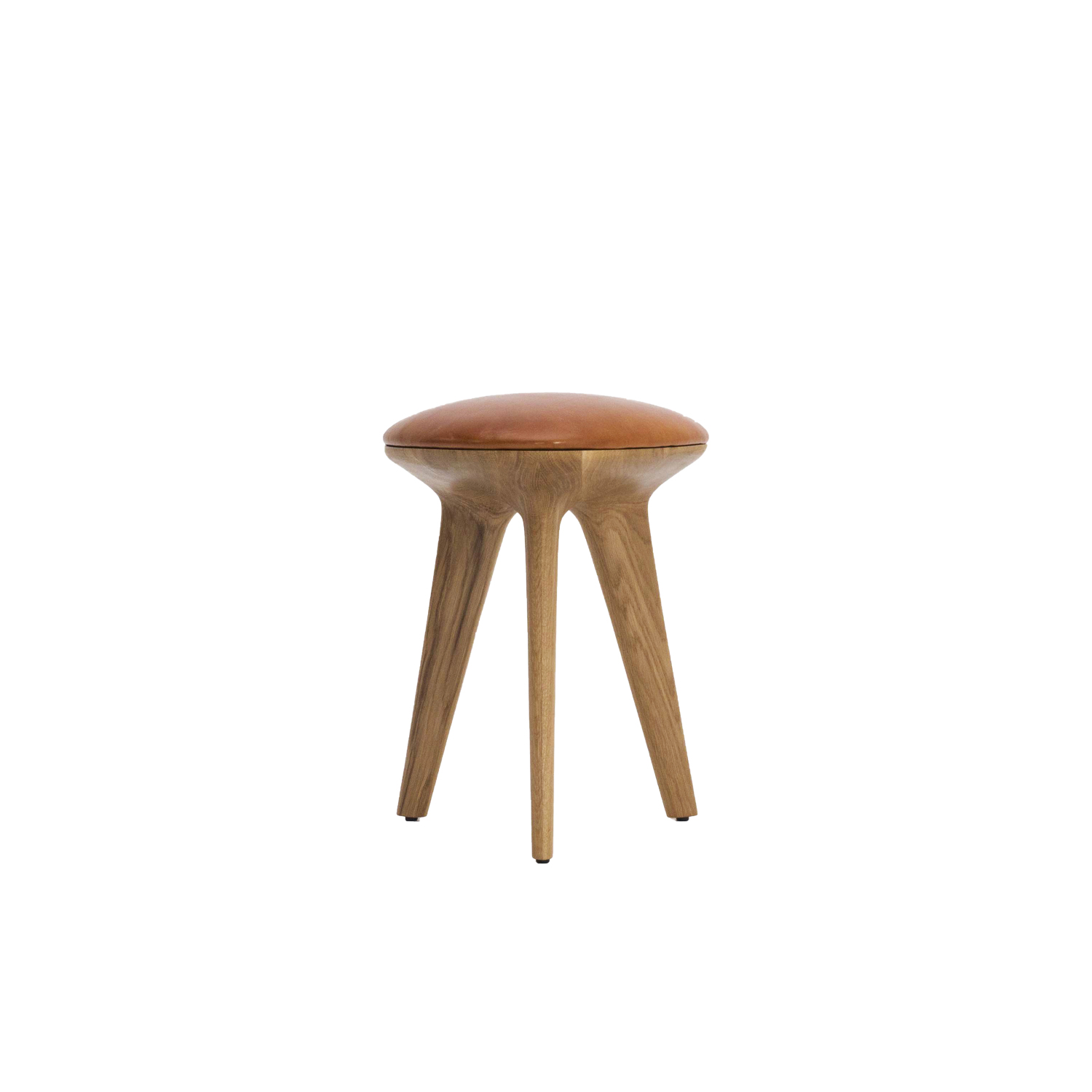 Rotor Stool - Inspired by the Reuleaux rotating triangle, the form of the Rotor stool is based on the intersection of three circles. The CNC-cut organic shape celebrates 'the curve of a constant width' with the wood grain radiating out in six directions from the centre to create a structural pattern. Available as a versatile sidetable or comfortable stool with the addition of a padded vegetable-tanned leather seat.  | Matter of Stuff