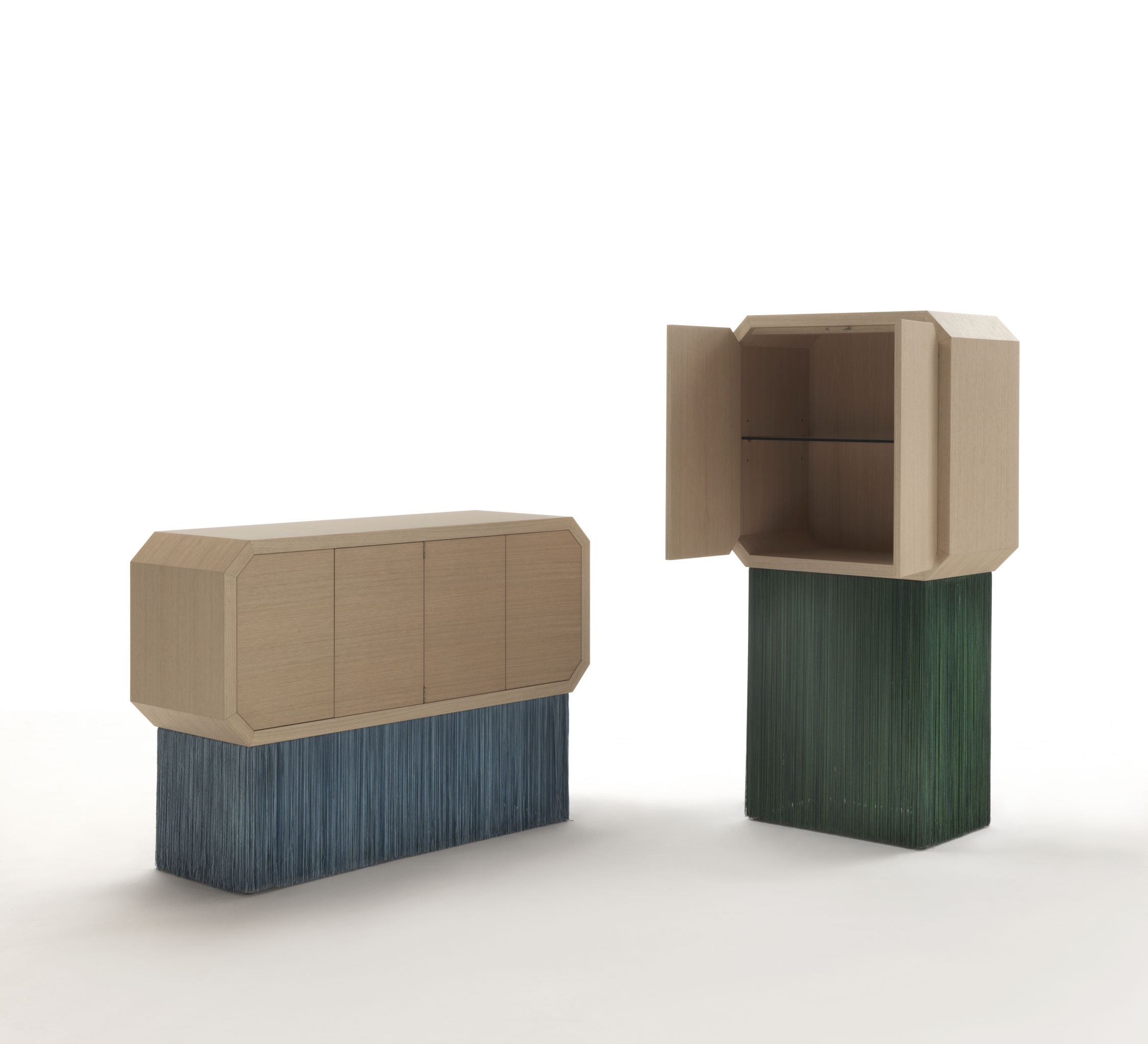 """Sipario High Cabinet - The inspiration for the Sipario collection arises from a study about Italian theatres: a wooden semi cycle, perspectival off-stages and a deep scenery. Top cabinet is available in Oak or Walnut wood. The fringes are made using a technique called """"Tripolino"""".  Other colour available for bespoke orders.  