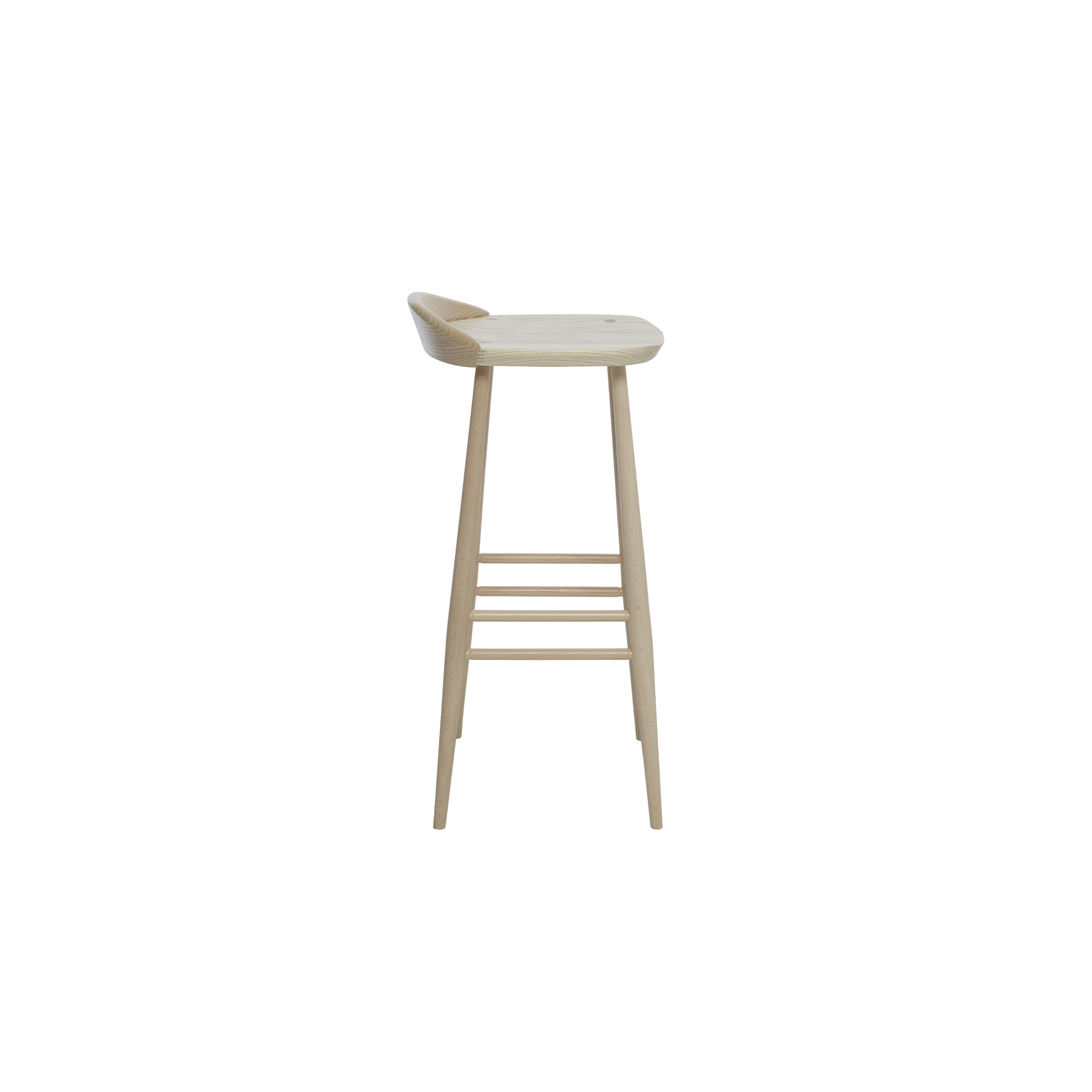 Originals Bar Stool With Back - <p>The Ercol Originals are pieces of timeless and classic design that never date or show their age. It is furniture that is as relevant and as functional now as it was when it was created in the 1950s and 1960s. This furniture was designed by Ercol's founder, Lucian Ercolani, who drew for his inspiration on the time-proven local design and craft in the Chiltern Hills around where he lived and built his first factory in 1920 in High Wycombe. Using the strength of beech and the beauty of elm he carried this definition on into a huge variety of dining, kitchen, and school chairs and then extended the idiom into the low easy chair range epitomised by the 206 armchair and the studio couch. The beauty of the colour and the grain of the elm took Lucian on to use elm for the tables and cabinets of the Originals and the following Windsor range. Ideal for using at a breakfast bar this modern bar stool offers functionality and elegance. The ash seat is moulded for comfort and the tapered legs remind us that this piece is characteristical Ercol. Choose from a selection of wood lacquers as well as an assortment of bold paint finishes, this bar stool is ideal in any home. This bar stool is 75cm tall. An alternative 65cm version is also available. A feature of this bar stool is the classic Windsor wedge joint, where the leg of the chair goes right through the seat; a wedge is then inserted into a cut in the leg, forming a remarkably strong joint. Sanded off flush with the seat, the joint then provides a beautiful design element. This stool was originally made in very small numbers in our jig shop for use by our designers in the days when designers used pencil and paper and sat at drawing boards.</p>