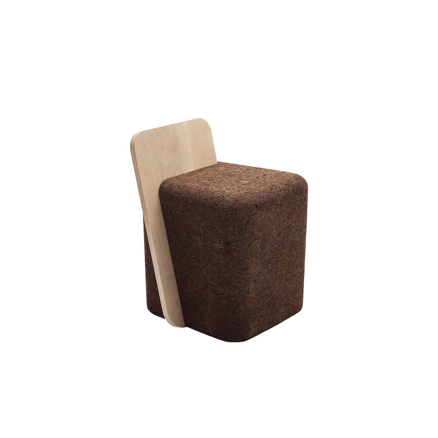 """Cut Stool - It is only used cork of the branches (falca) for the manufacture of cork granules. These are block clusters in autoclave, being 100% natural process, without use of additives. Technology, developed by Sofalca, consists of injecting water vapour through the pallets that will expand and agglutinate with the resins of the cork itself. This """"cooking"""" gives also dark colour to the agglomerated cork, like chocolate. In the production of steam I used biomass, obtained on milling and cleaning the falca, what makes it truly ecological production and without waste, 95% energy self-sufficient. As a super-material, cork offers so many advantages, because in addition to its excellent thermic, acoustic insulation and anti vibration characteristic, it is also a CO2 sink playing a key-role in the environment. 