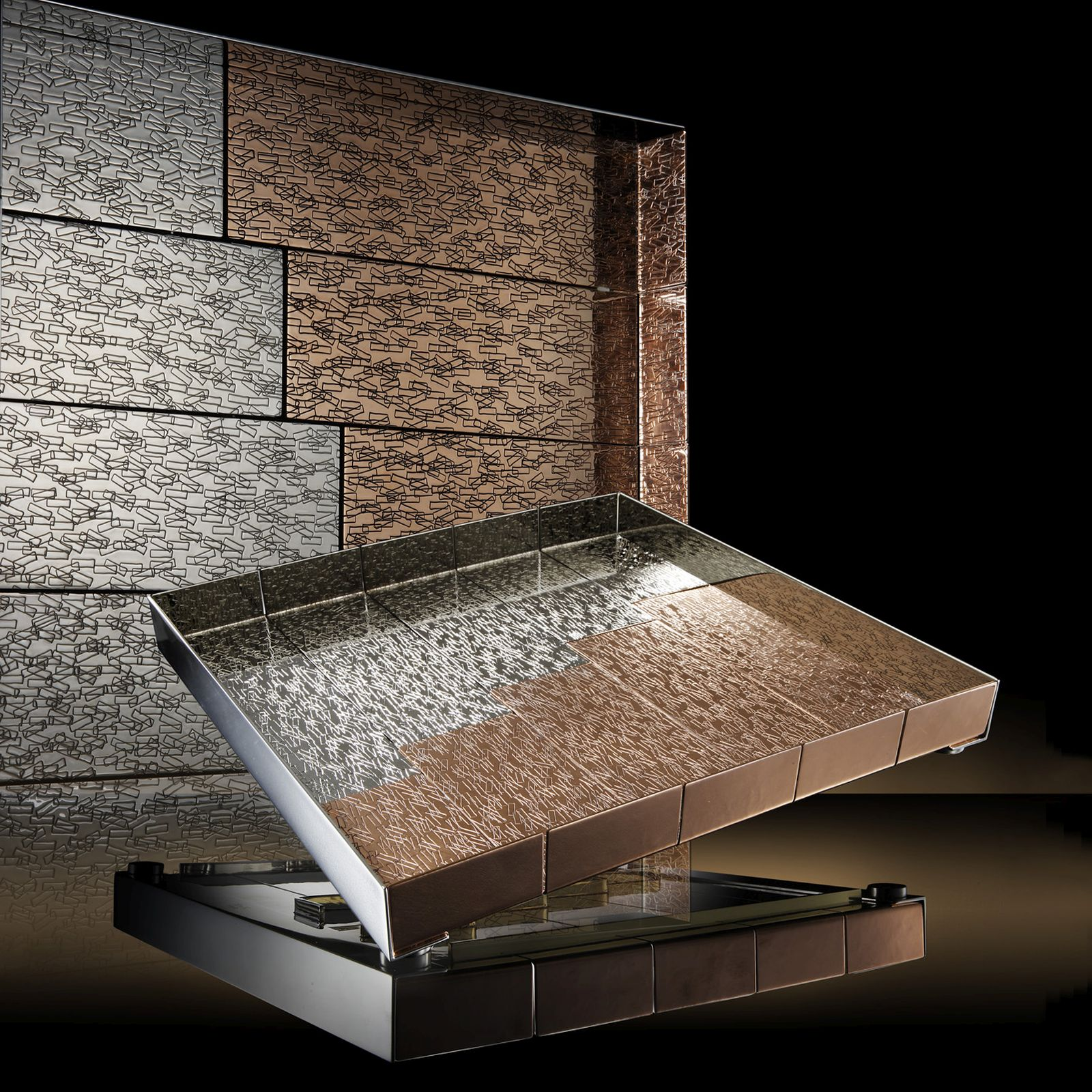 Accordi Tray - Square Tray in copper and white bronze. This tray is characterized by the rectangular motif.  The Accordi square tray is characterized by skilled and expert workmanship that combines different materials and processes creating a contemporary style with a unique design. | Matter of Stuff