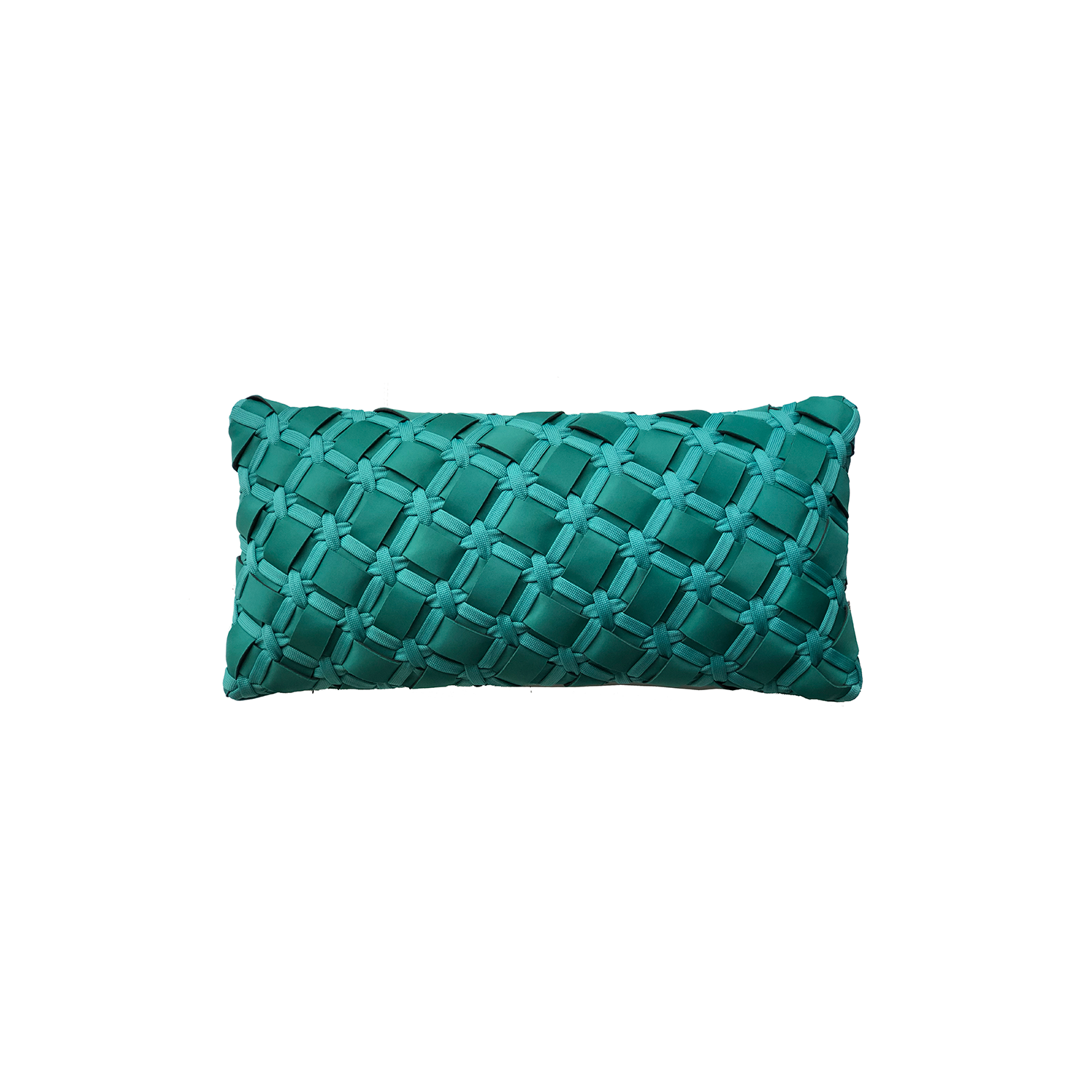 Geometrico Neo Cushion Small - The Geometrico Neo Cushion is carefully knitted within a trained community of women that found in their craft a way to provide for their families. The outdoor collection is made with synthetic fibres, resistant to weather exposure. The use of neoprene brings comfort and technology to the cushions.  The front panel is in neoprene combined with hand woven nautical cord, made in Brazil.  The inner cushion is in Hollow Fibre, made in the UK.  Please enquire for more information and see colour chart for reference.  | Matter of Stuff