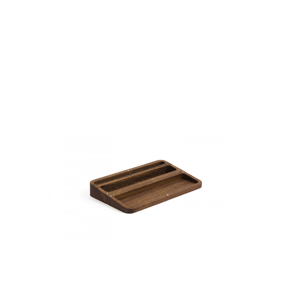 Pico Desktop Container - A desktop container in mahogany, which thanks to small magnets placed at strategic points can be simply and effectively opened and closed. When open, Pico has three compartments of different sizes to store letters, visiting cards, pencils and stationery in general. An indispensable presence on your desk. Supplied with gift-box packaging.  | Matter of Stuff