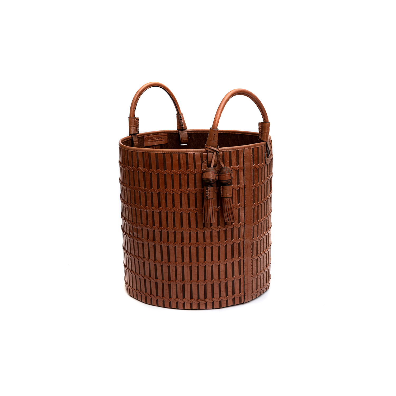 Paraty Indochina Croco Woven Leather Basket - Paraty Indochina Croco Woven Leather Basket is designed to complement an ambient with natural and sophisticated feeling, ideal when placed next your sofa or bed, perfect for magazines and throws storage. Elisa Atheniense woven leather pieces, are handmade and manufactured in Brazil using an exclusive treated leather that brings the soft feel and touch to every single piece. Elisa Atheniense Home Baskets have a delicate tassel attached.   The baskets are available in three sizes. Bespoke sizes are also available under project request as well as colours, see colour chart for reference. | Matter of Stuff