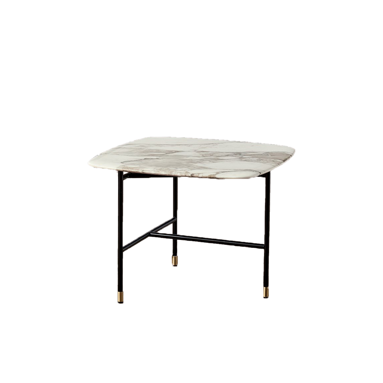 Adrian Square 55 Low Table - Collection of occasional tables featuring smooth edged tops, almost visually floating on a slim frame.  Realized in various dimensions, the Adrian coffee tables are available with tops in matt or glossy lacquer or in the different marble kinds. The frame in tubular metal can be entirely in bronzed brass or black – also completed by refined bronzed brass tips. | Matter of Stuff