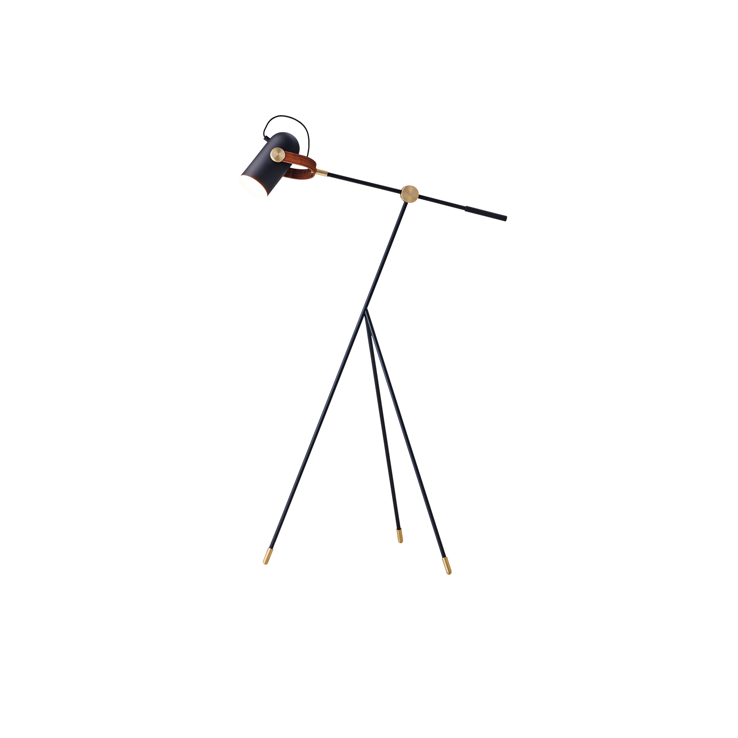 Carronade Low Floor Lamp - This multi-functional floor lamp demonstrates the ingenuity, subtle skills and craftmanship of LE KLINT's latest adaptation of a classic reading lamp. This beautiful modern design with its rotational head is appropriate for any interior wherever it stands.  CARRONADE low floor lamp comes in a black or sand painted aluminium finish with brass or aluminium metal discs and American walnut or oak details. All models are fitted with LED light bulbs.  It is not difficult to see how designer Markus Johansson drew inspiration from 17th-century ship cannons as he created the CARRONADE lamp series. The idea of a small table lamp, with a distinctive but playful shape of a small cannon, was quite a challenge. Realizing gunpowder and cannonballs references by way of modern lighting technology then synchronized with 21st-century contemporary Nordic lighting designs was no simple task but very much a 'Eureka' moment.    Matter of Stuff