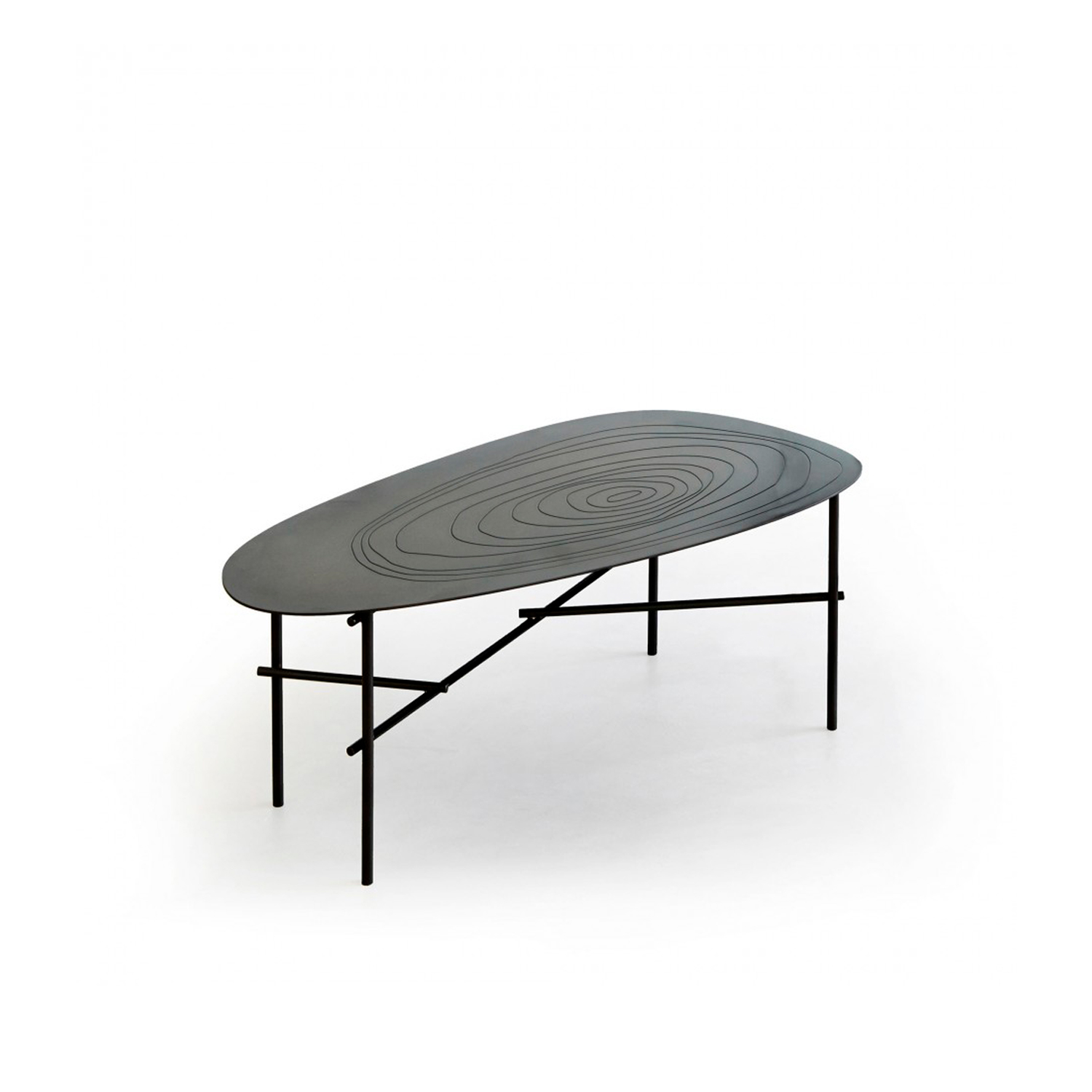 Syro Coffee Table  - In organic shapes, this triptych of small tables is supported by a slender rebar structure and characterized by geometric shapes etched on the sheet metal tops. Flowing forms, almost primitive markings, material combinations and chromatic variations combine: iron, brass and copper are mixed repeatedly with shapes inspired by circles that branch out into the water, into the flowing current and the rippling waves. The connecting bars of the frame, positioned at the same height from the ground, form a natural weave, like branches of the same plant, in a fluid, balanced composition.  Set of three 100% metal side tableswith irregularly-shaped engraved tops.  Legs E5 DeLabré iron B  | Matter of Stuff