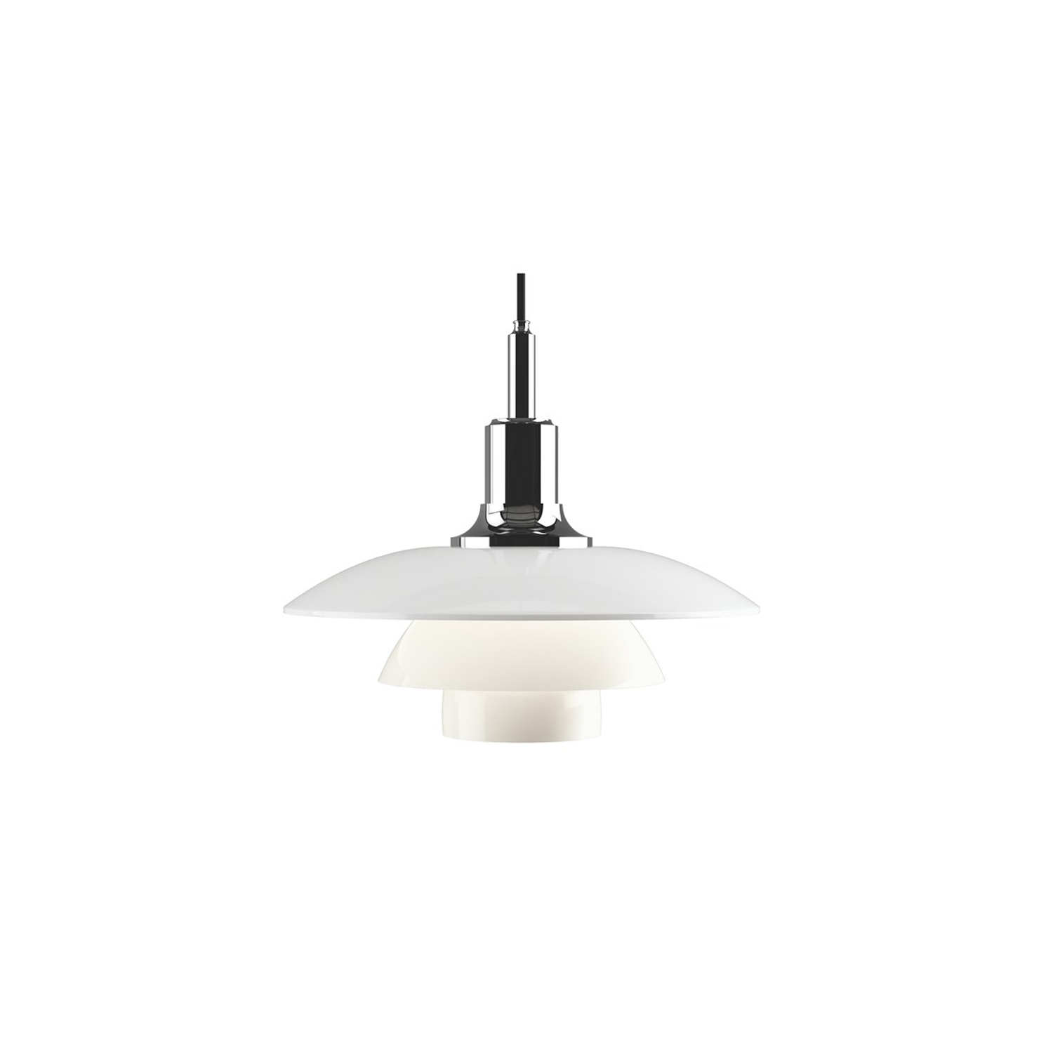 PH 3½-3 Glass Pendant light - The fixture is designed based on the principle of a reflective three-shade system, which directs the majority of the light downwards. The shades are made of mouth-blown opal three-layer glass, which is glossy on top and sandblasted matt on the underside, giving a soft and uniform light distribution. | Matter of Stuff