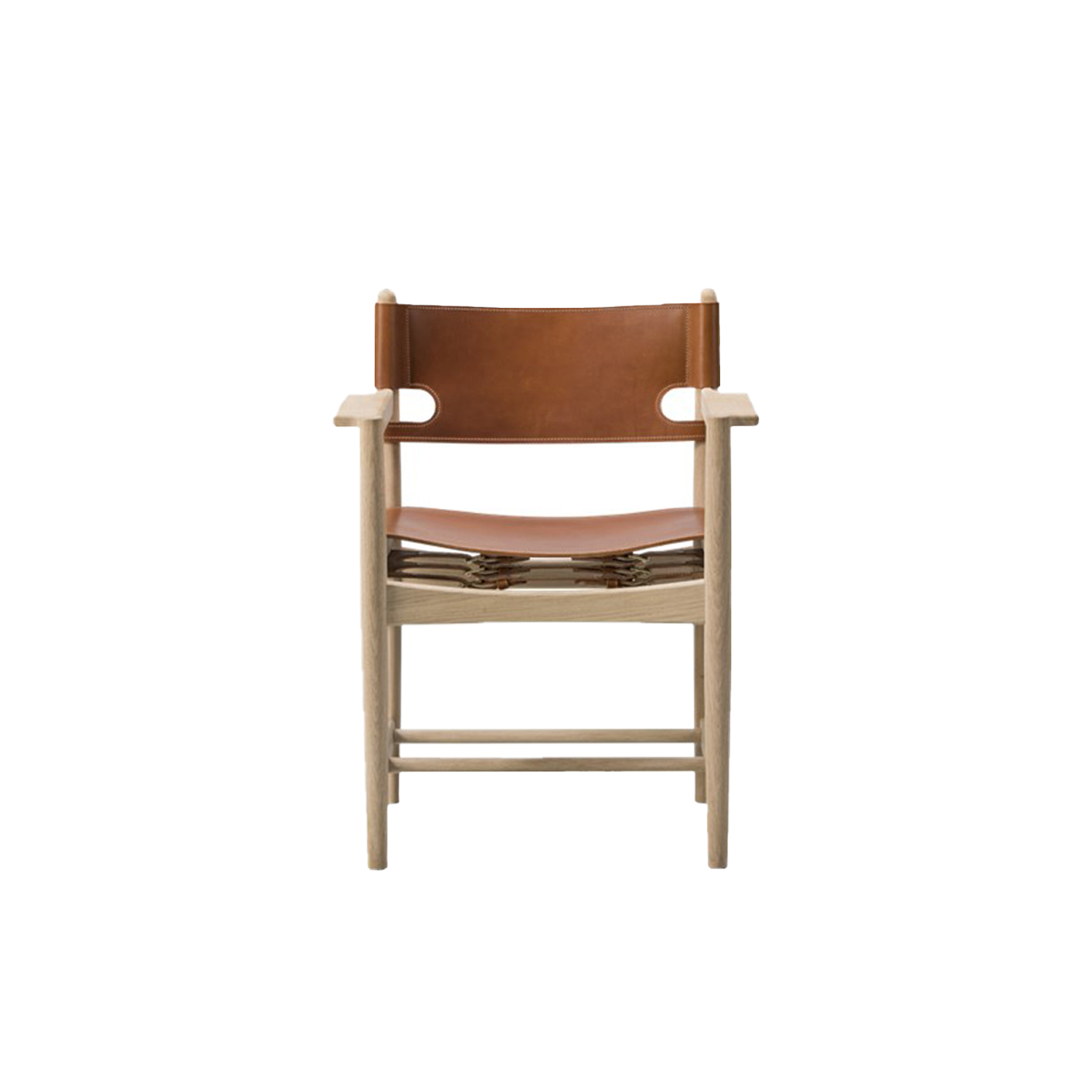 The Spanish Dining Armchair - The Spanish Dining Chair is a testament to the application of honest materials. Crafted from the finest selection of oak and flawless saddle leather, the chair is available with or without armrests, and with multiple finishes from light to darker shades, depending on the atmosphere you want to create.   Matter of Stuff