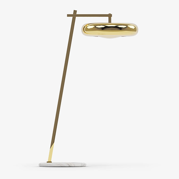 Marshmallow Floor Lamp - <p>A suspending lamp over a sofa or a reading chair, creating an effect of comfort lighting with its particular indirect projection, standing on the top of a thin metallic and elegant structure and touching the floor with the connection of a round shaped marble stone. A combination of colours, materials and finishes are available. Please enquire us for more information.</p>  | Matter of Stuff