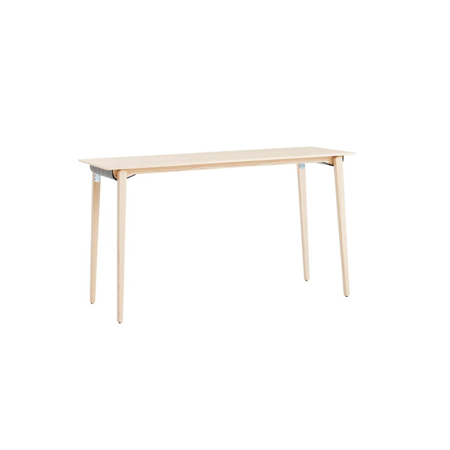 Press Table 1300 - Press (2015) is the result of an undertaking to construct a folding table made entirely out of wood. The challenge was to make a table that was lighter yet just as stable to use, just as simple to fold up and just as long-lasting as similar constructions. After years of experimentation, the designers succeeded in developing an innovative, adjustable locking mechanism which ensures that the table is not only exceptionally stable but also simple to fold up. In addition, the legs lock in place without the need for a cross-piece or stretcher, thus providing knee room for comfortable seating at the short ends of the table. A concealed grip milled into the underside of the tabletop makes moving the table simpler. The tabletop is veneered with oak, birch, ash, standard stains on ash and white glazed oak or ash. The top is also available in laminate (white, black matte, oak, birch or ash) and black desktop. The table is supplied with a wooden edge strip or for a more durable tabletop, choose a plastic edge strip in white or black. Stacking and safety cover in felt of the colour anthracite as standard. The cover is also available as an option in the colours light grey and off white. The solid wood legs are in oak, birch, ash, standard stains on ash or white glazed oak or ash, and have felt floor protectors as standard.  A range of materials, finishes, colours and accessories including built-in USB ports and cable slots are available in a variety of combinations. Please enquire for more information.  | Matter of Stuff