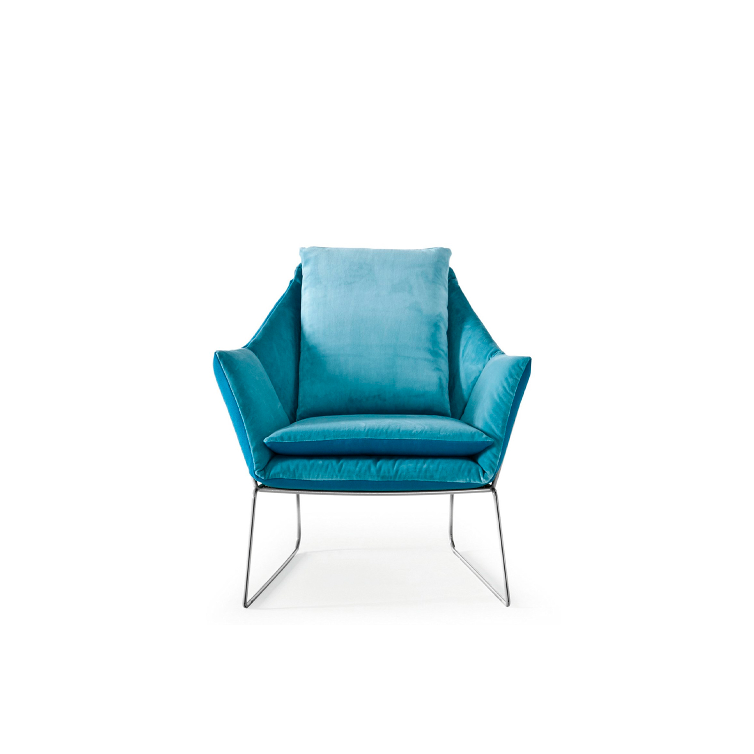New York Lounge Armchair - New York is a collection which proudly bears the name of the Big Apple. Two souls, uptown and downtown, enclosed in a single design piece whose fully changeable covers reveal its innate versatility. The New York lounge chair, with its essential metal frame and endless possibilities of the double textile cushion, allows for a high degree of personalization. The frame in iron rod comes in many colours and coating finishes. Fully removable covers.  Additional removable cover is available, please enquire for prices.  Materials: Structure in 12 mm wire drawn. The seat is in perforated sheet metal. Chrome or painted finish. Inner core, seat and back cushions are filled with polyurethane foam, covered with cotton and polyester fiber. | Matter of Stuff